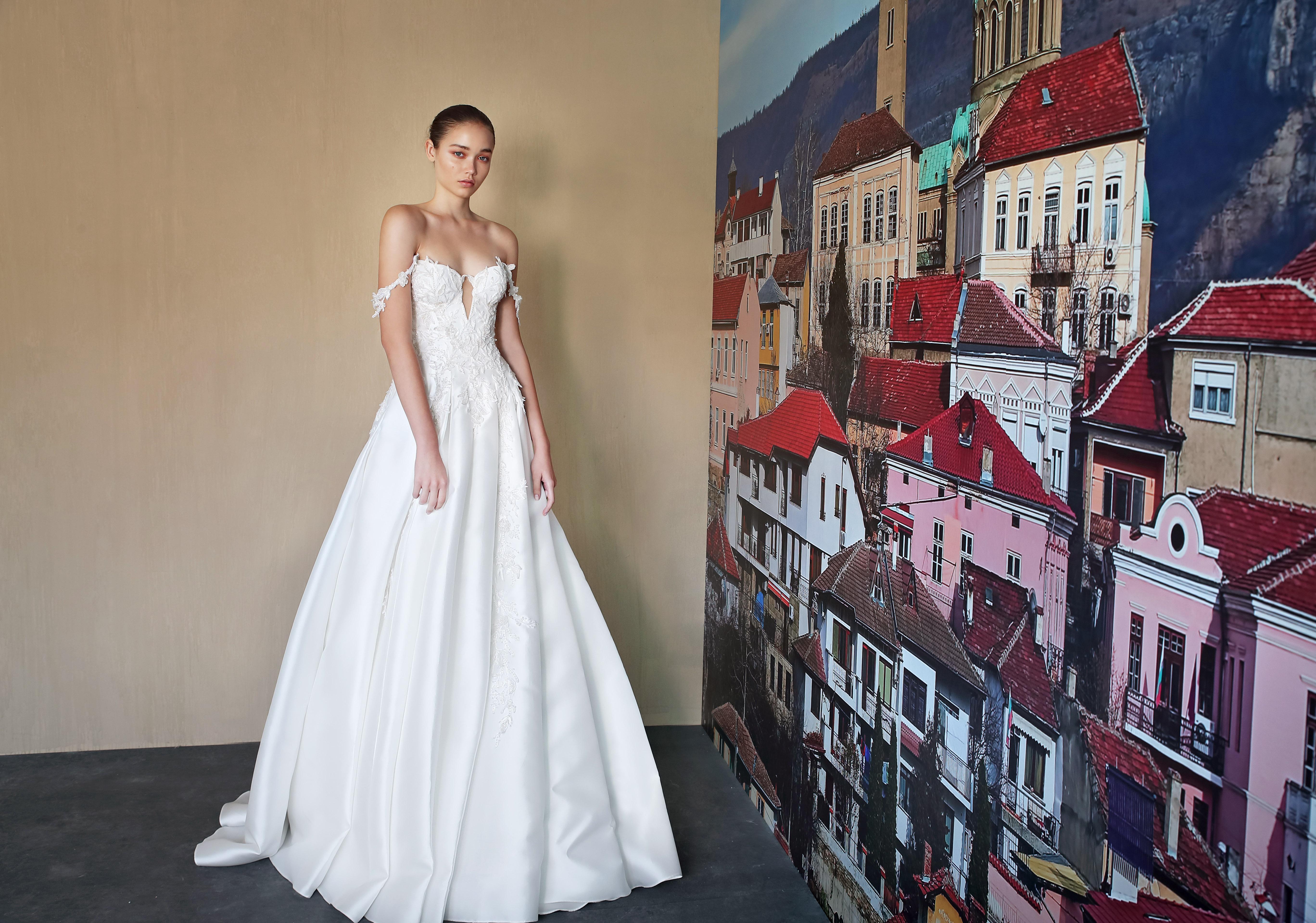 galia lahav off the shoulder long sleeves wedding dress fall 2019