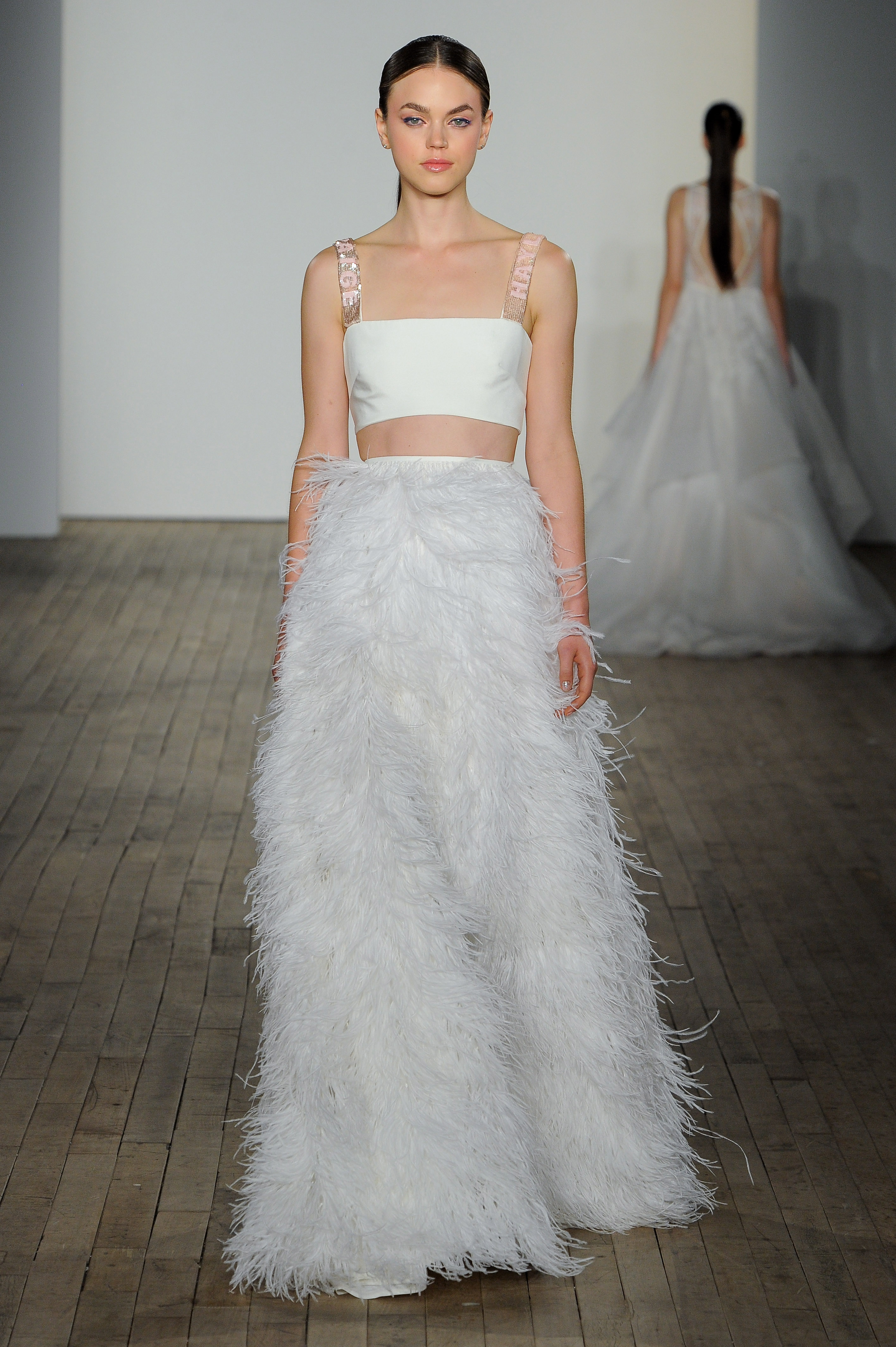 haley paige fall 2019 fringe pants wedding dress