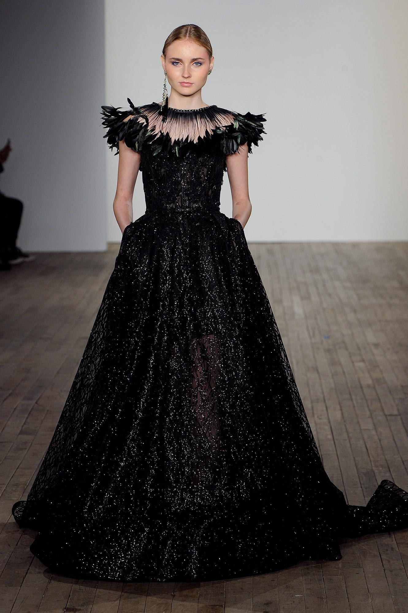 lazaro fall 2019 cap sleeve black ball gown wedding dress