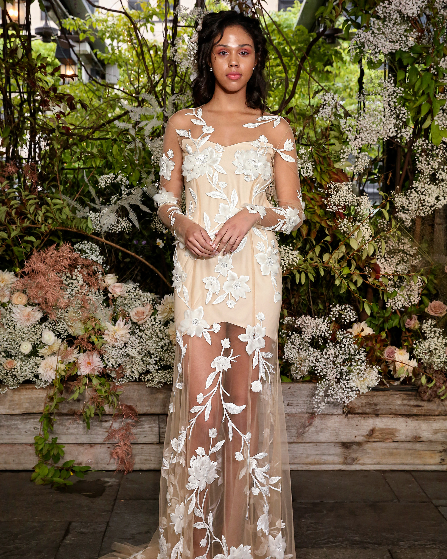 alexandra grecco wedding dress short with embroidered sheer overlay