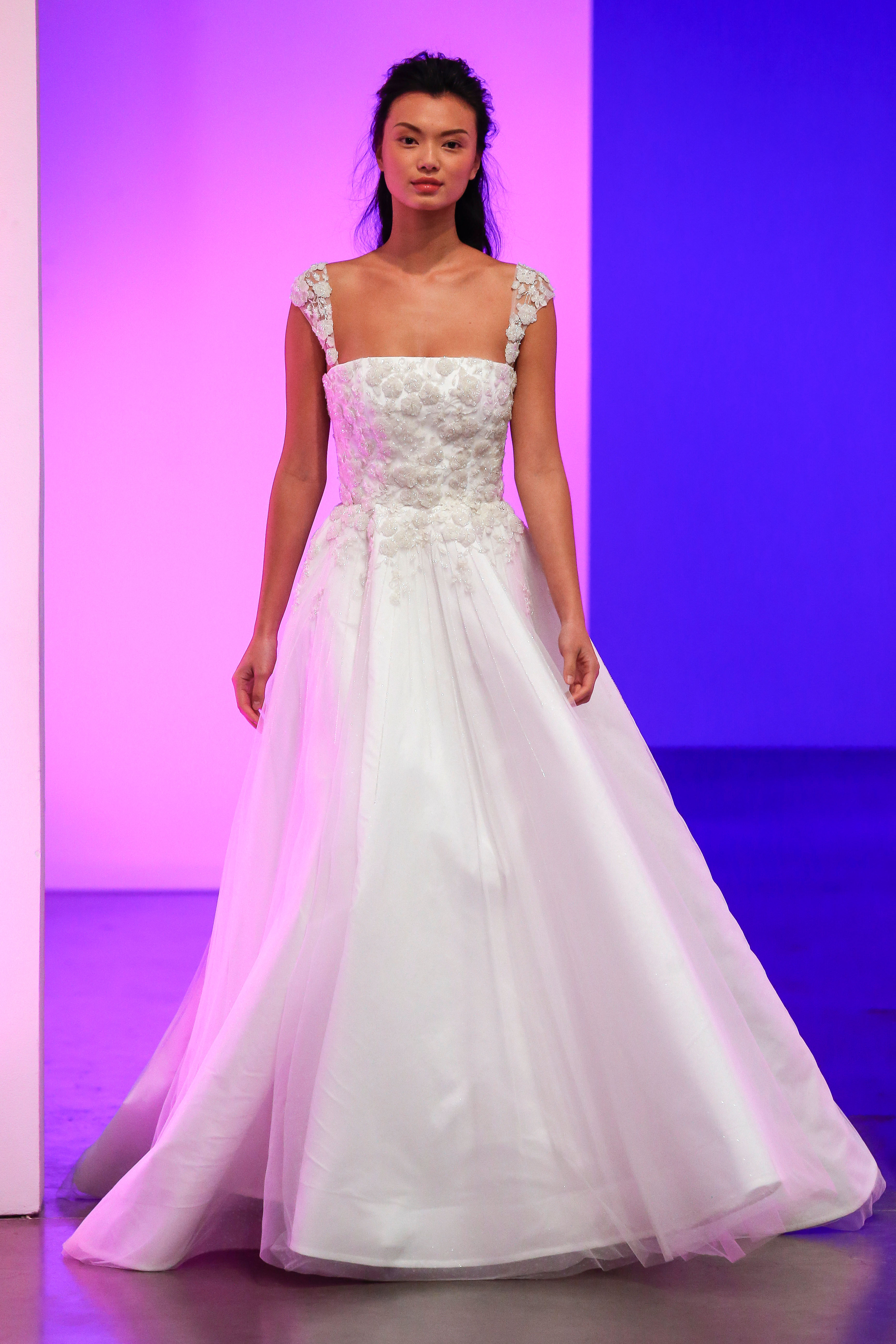 gracy accad fall 2019 floral applique cap sleeve ball gown wedding dress