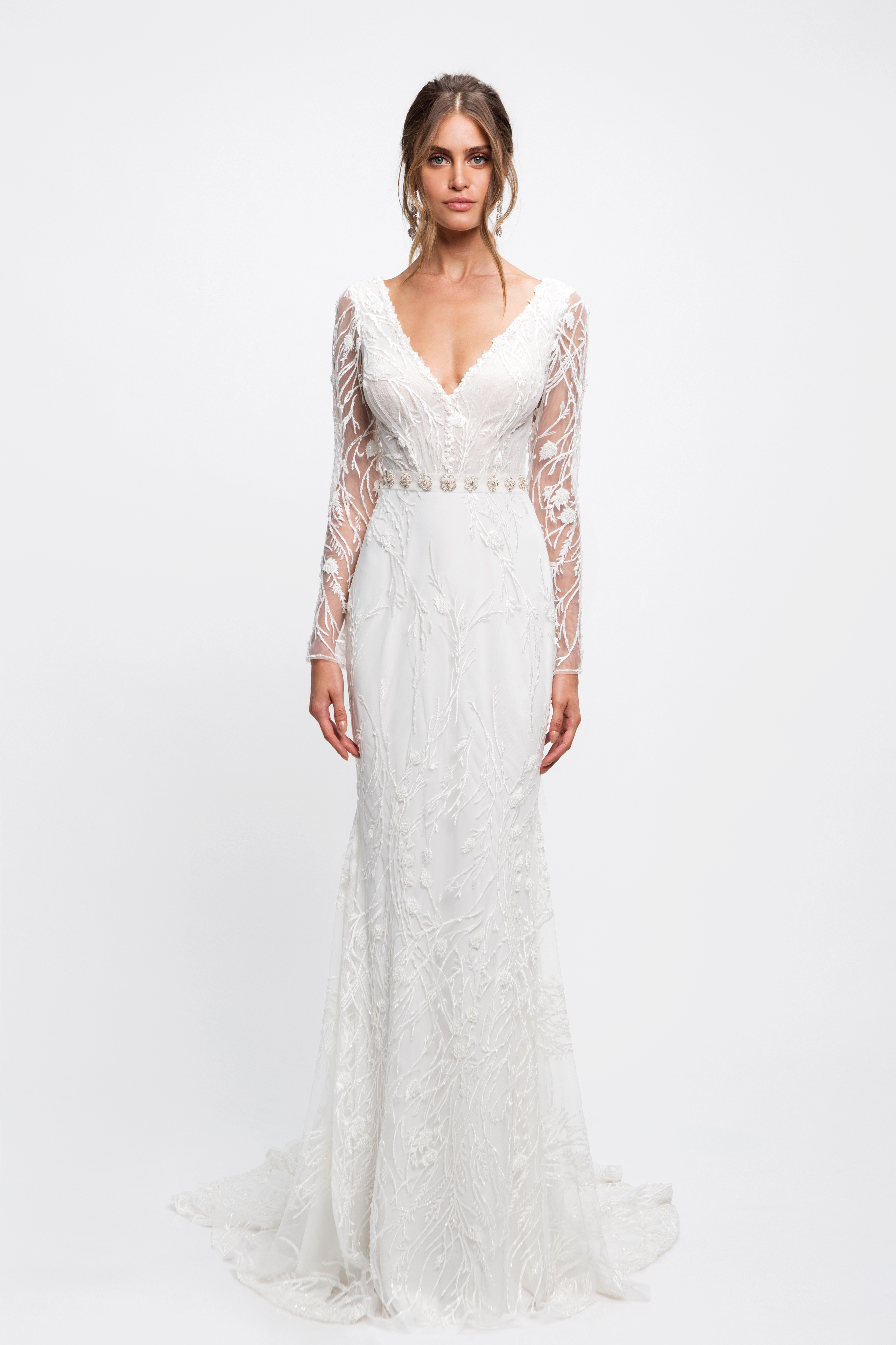 lihi hod wedding dress long sleeves v-neck beaded trumpet