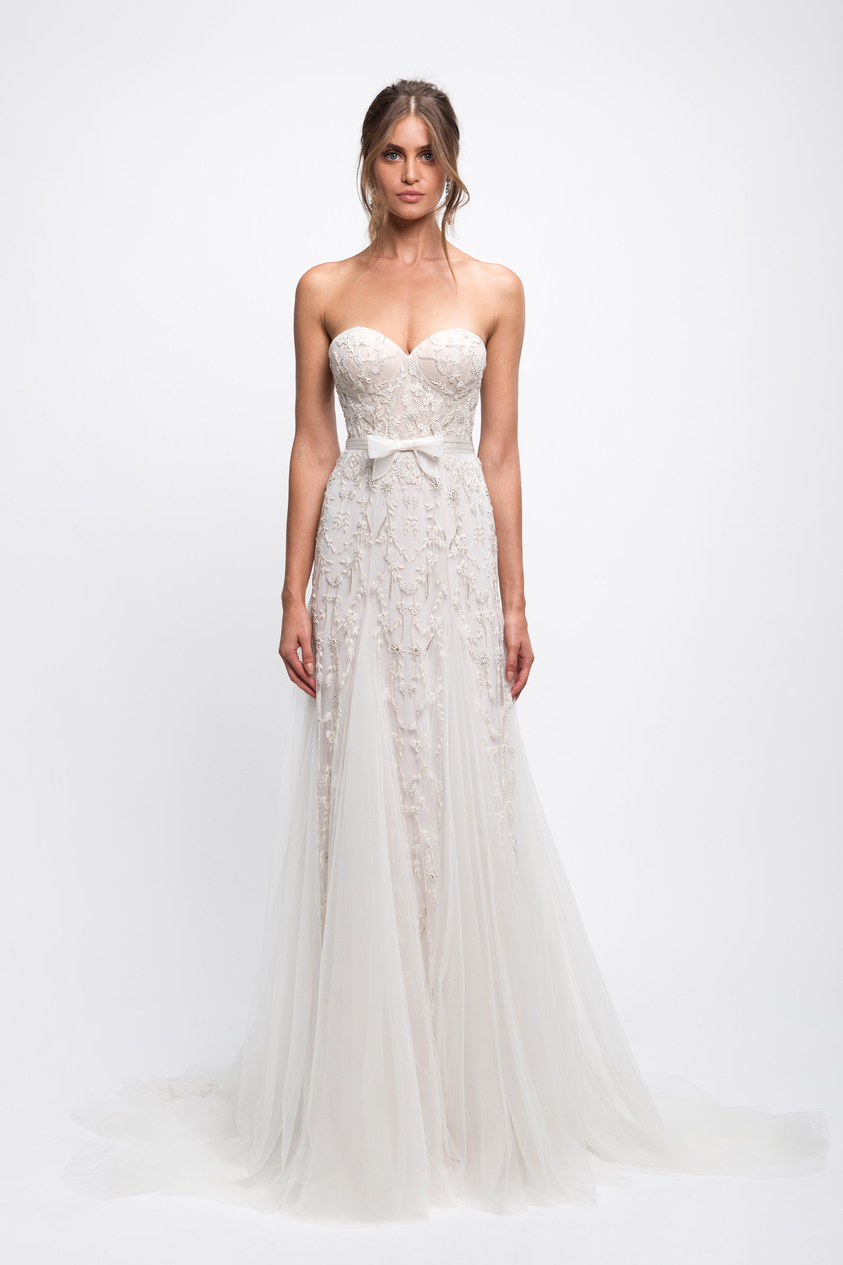 lihi hod wedding dress sweetheart strapless floral applique trumpet
