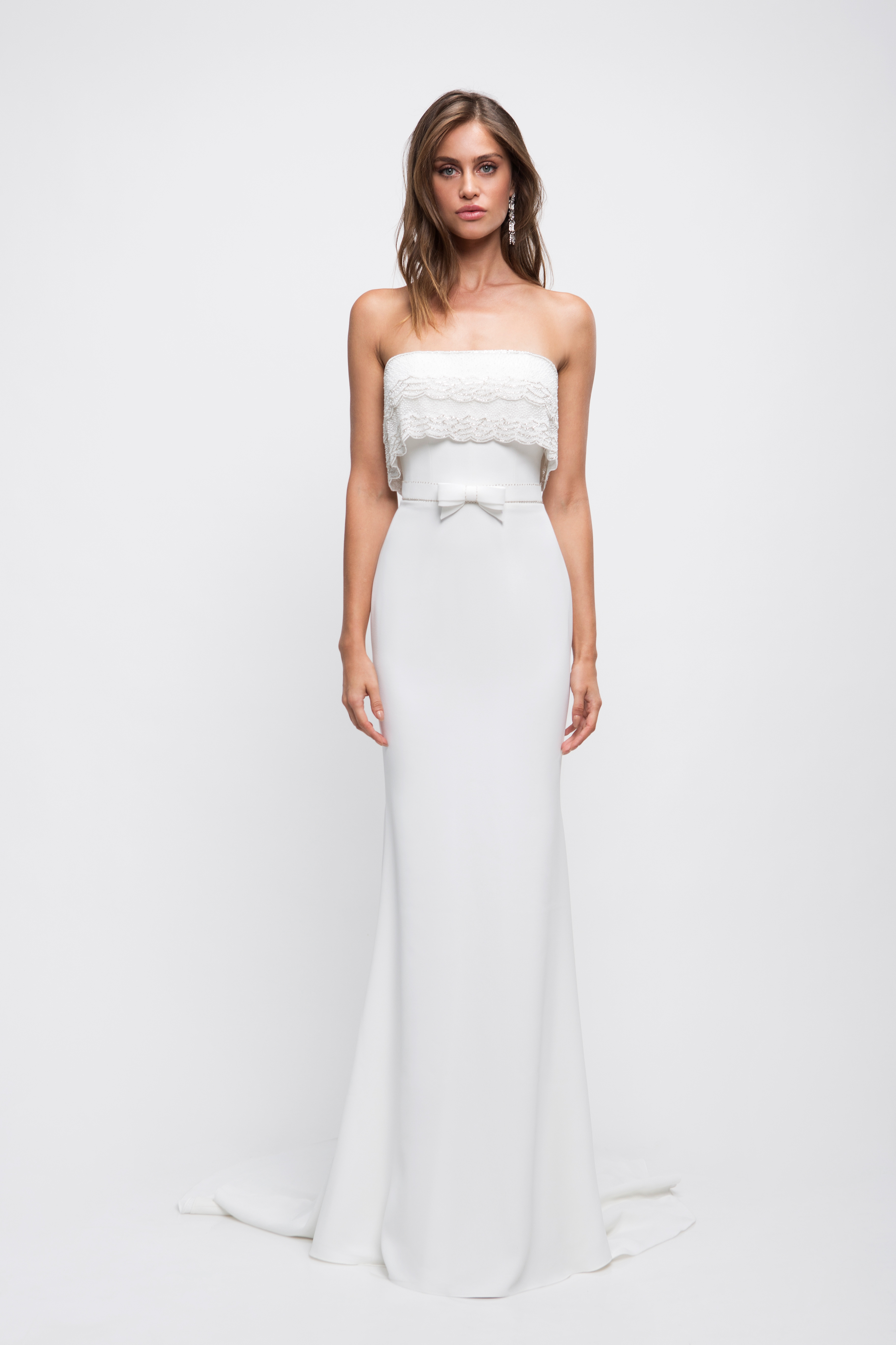 lihi hod wedding dress strapless trumpet bow belt