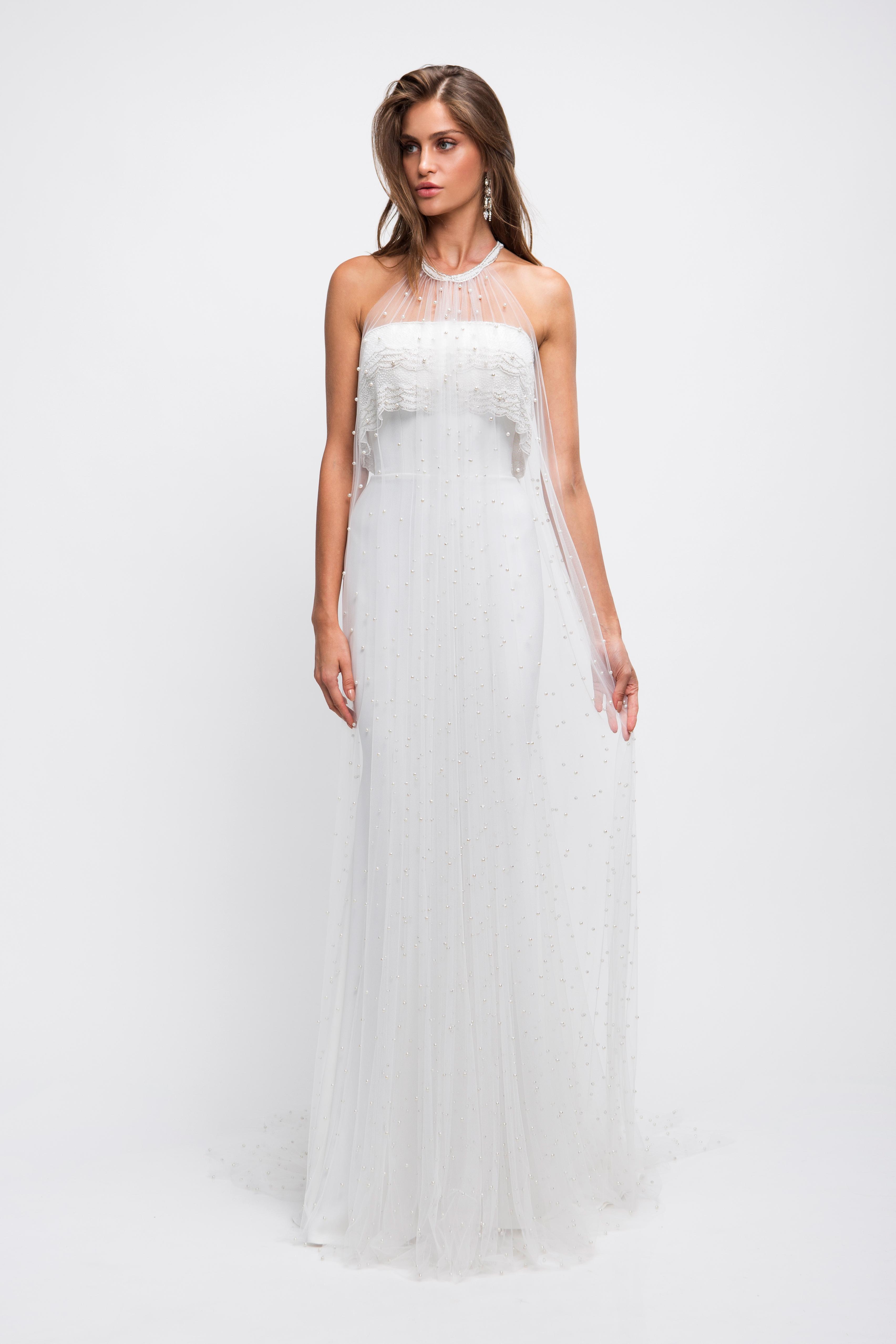 lihi hod wedding dress halter illusion beaded overlay sheath