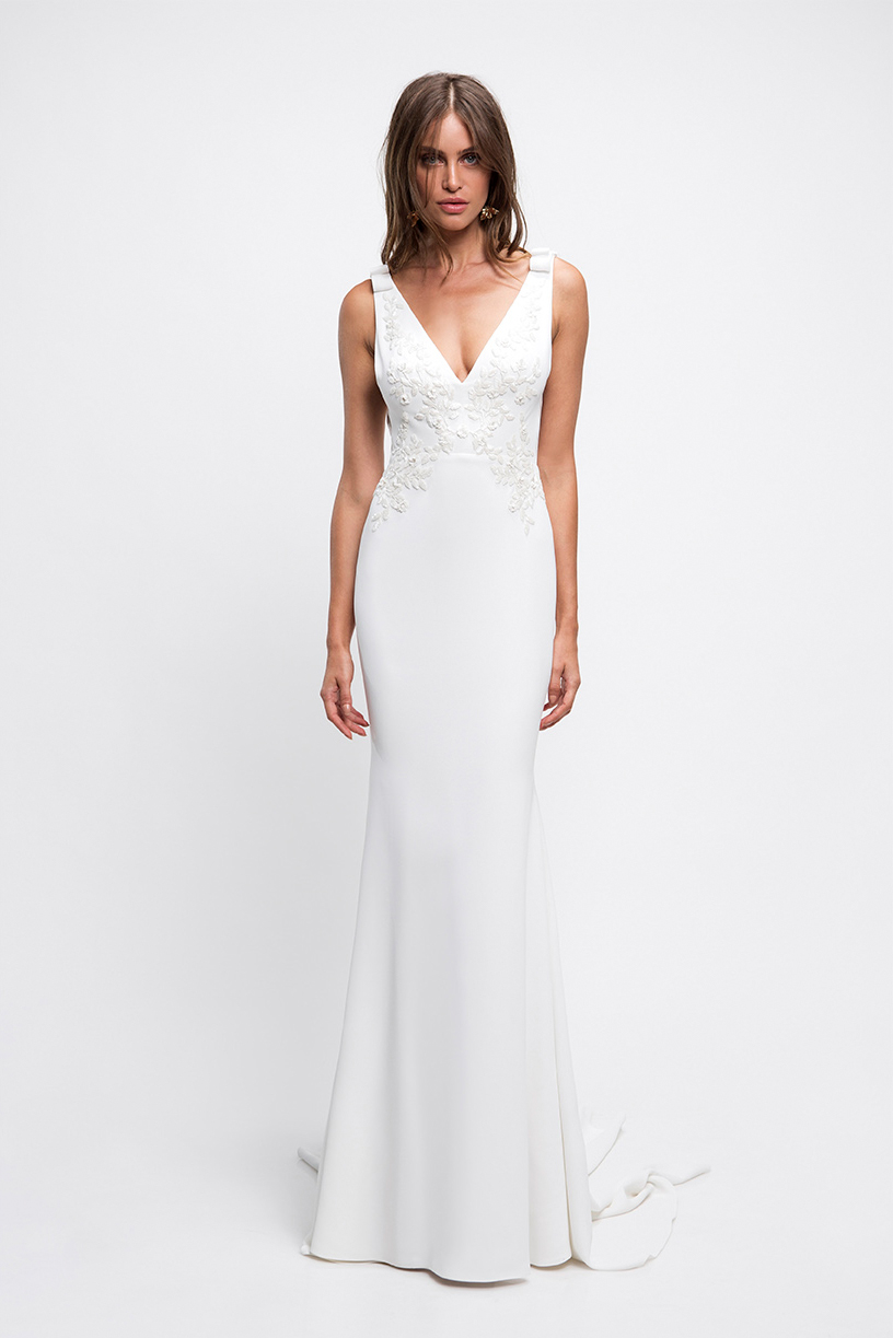 lihi hod wedding dress sleeveless v-neck trumpet