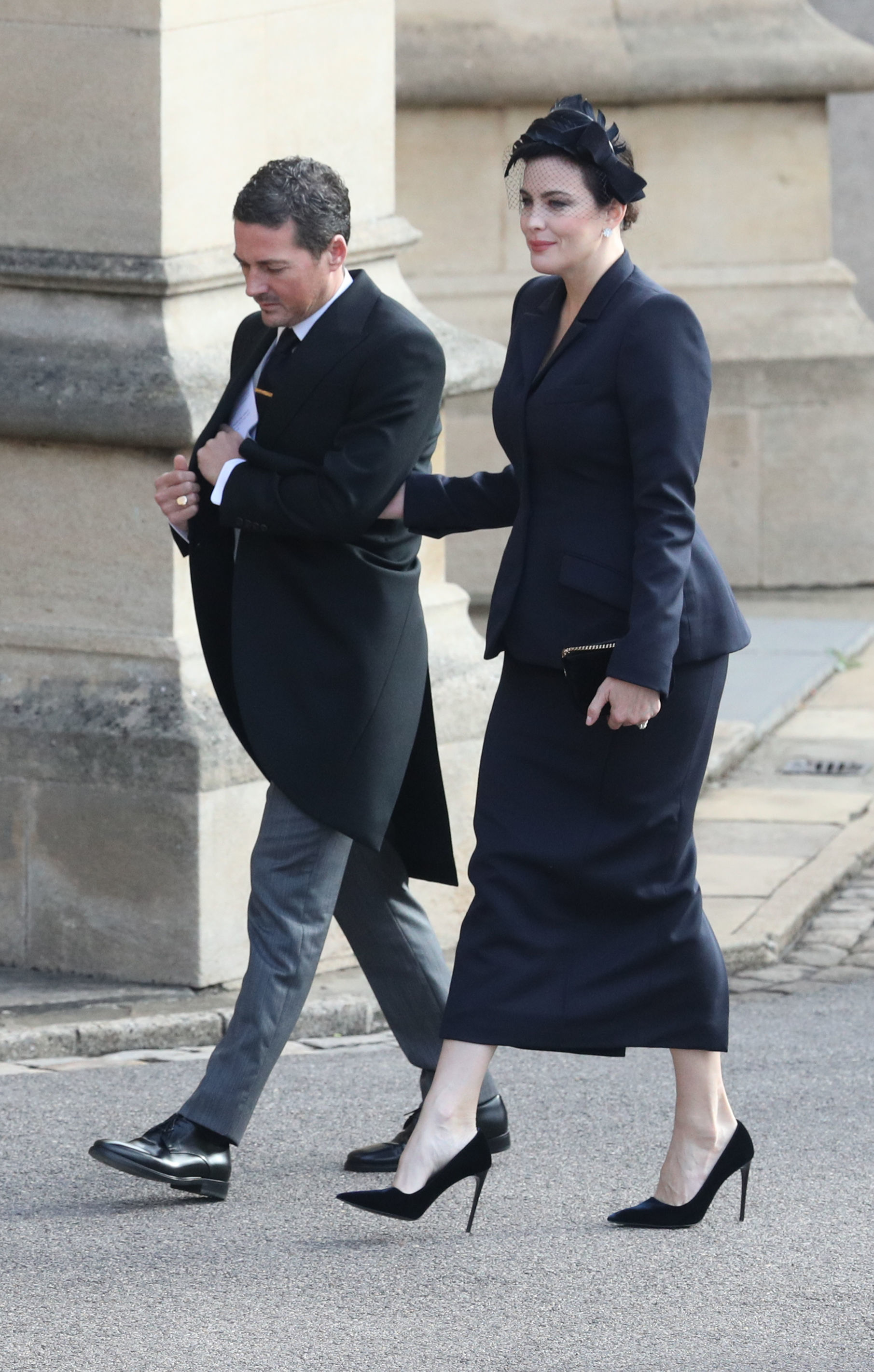 dave gardner and liv tyler arrive at princess eugenies royal wedding