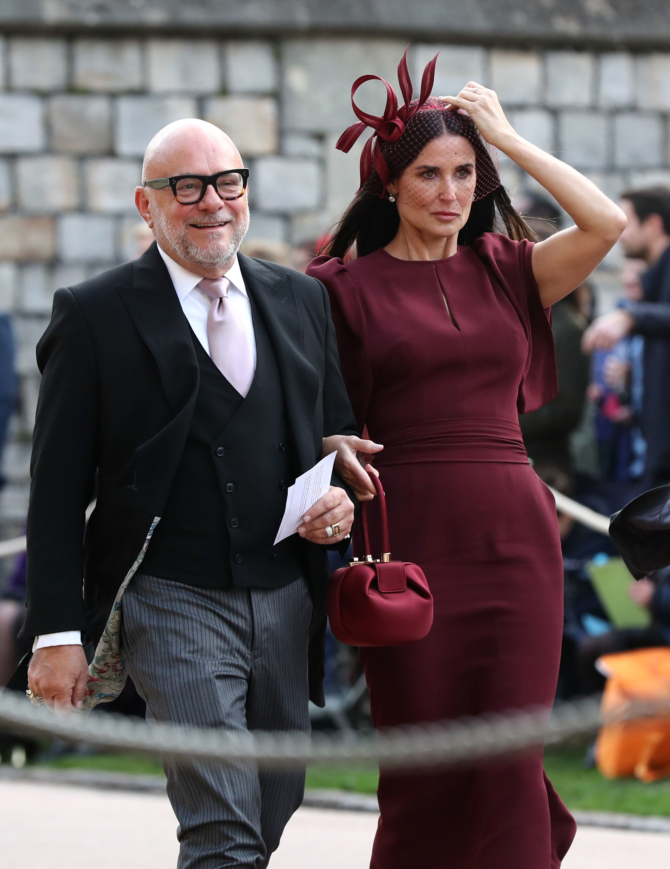 eric buterbaugh and demi moore arrive at the royal wedding of princess eugenie