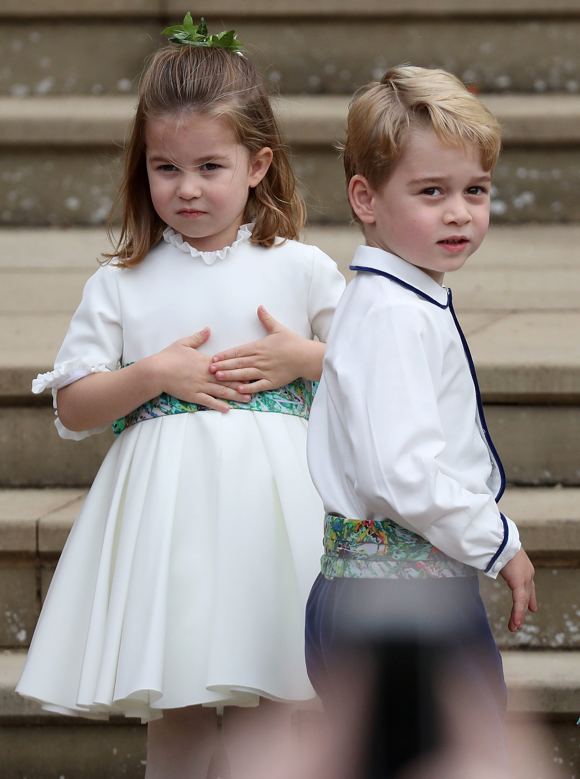 princess charlotte and prince george at the wedding of princess eugenie