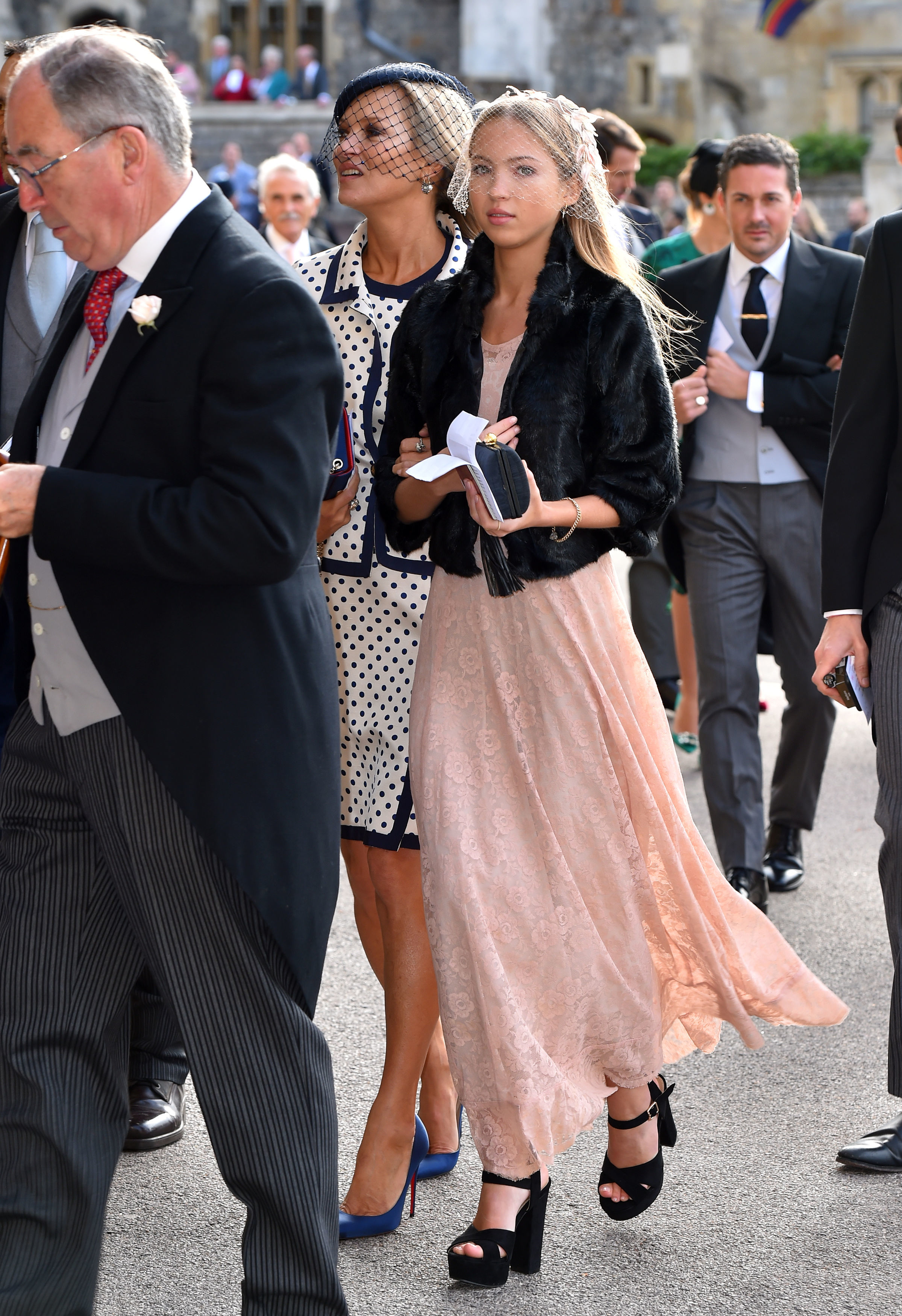 kate moss and daughter lila grace moss hack arrive at the wedding of princess eugenie