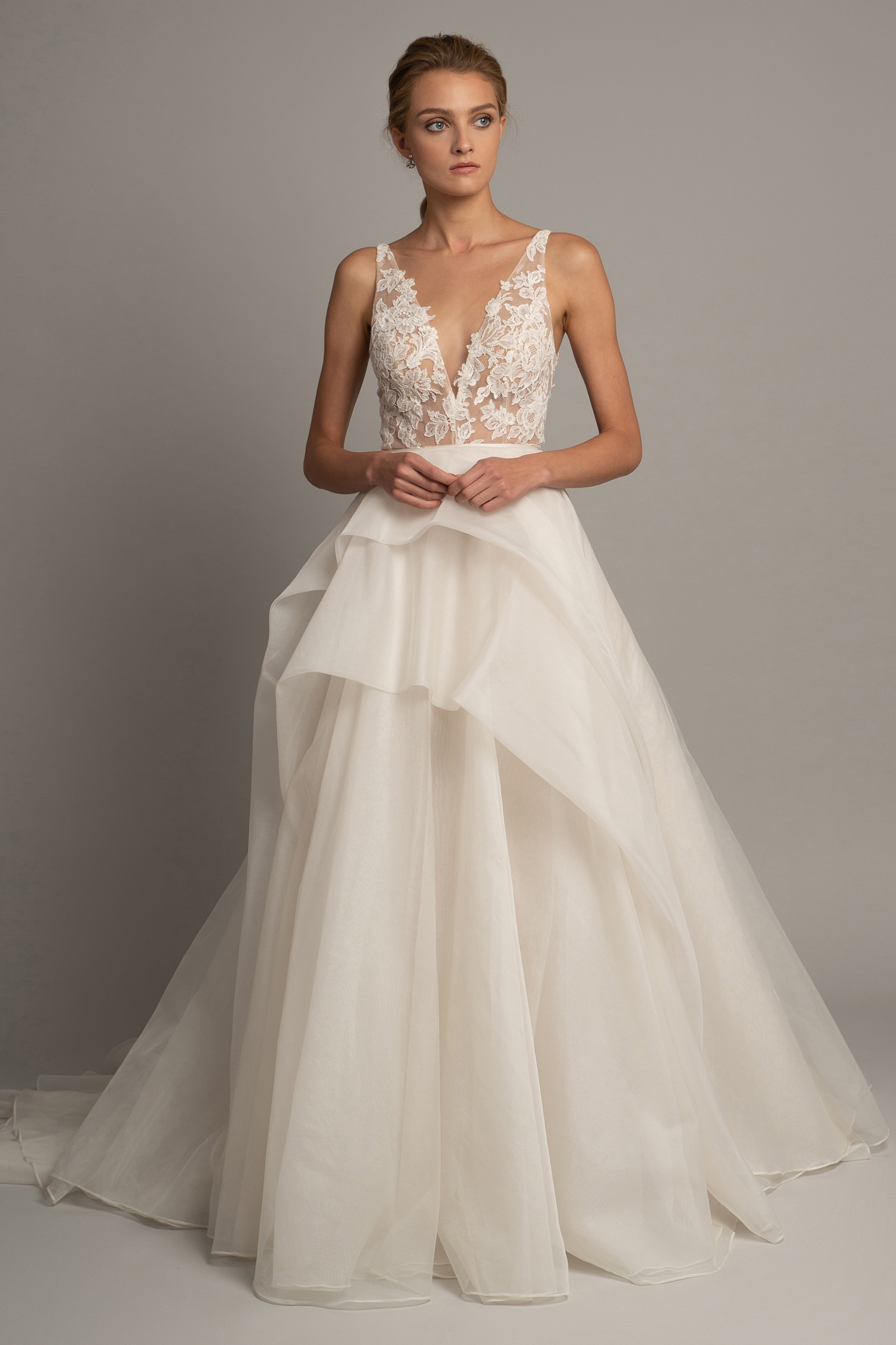 jenny yoo fall 2019 lace v-neck a-line gown with tiered skirt