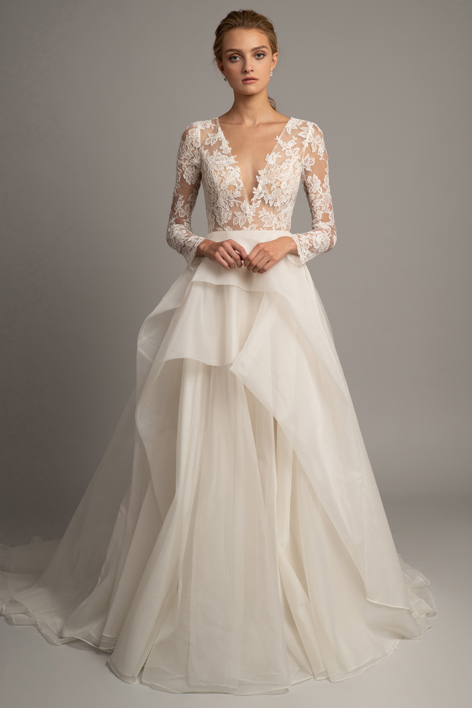 jenny yoo fall 2019 long sleeve lace a-line gown with tiered skirt