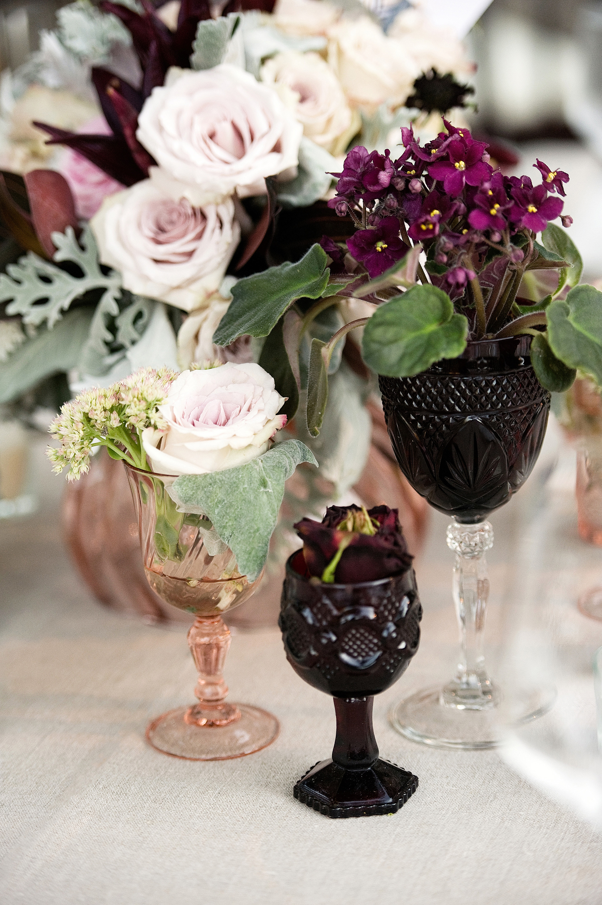 fall wedding centerpieces goblets cluster vintage florals