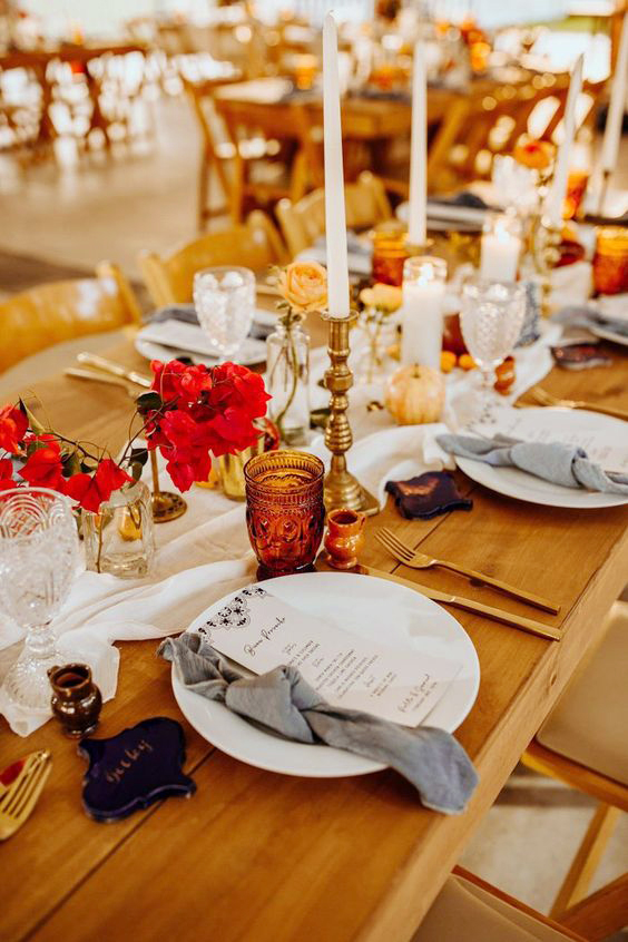 fall wedding centerpieces warm colors tablescape