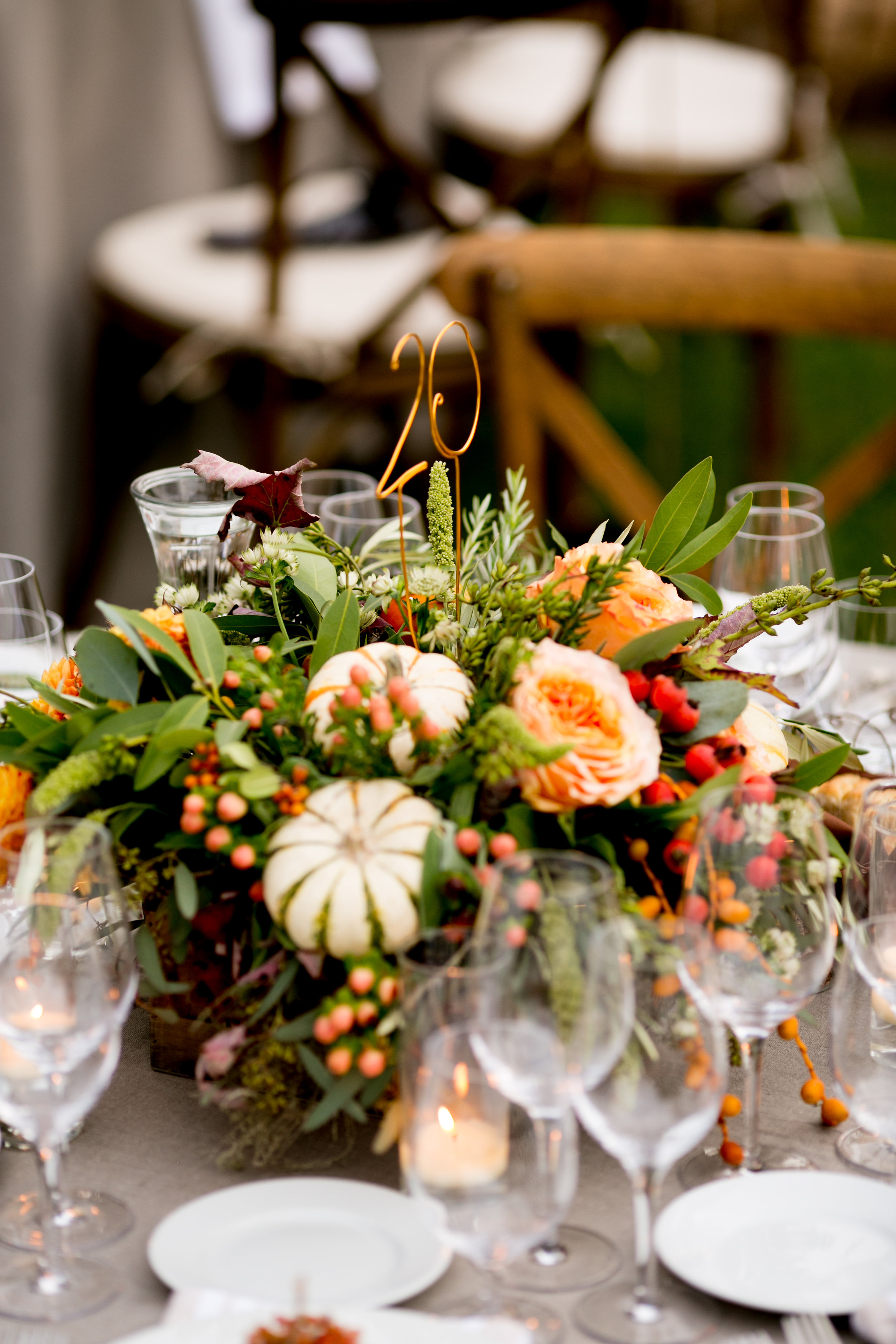 Fall Centerpiece with Mini Pumpkins