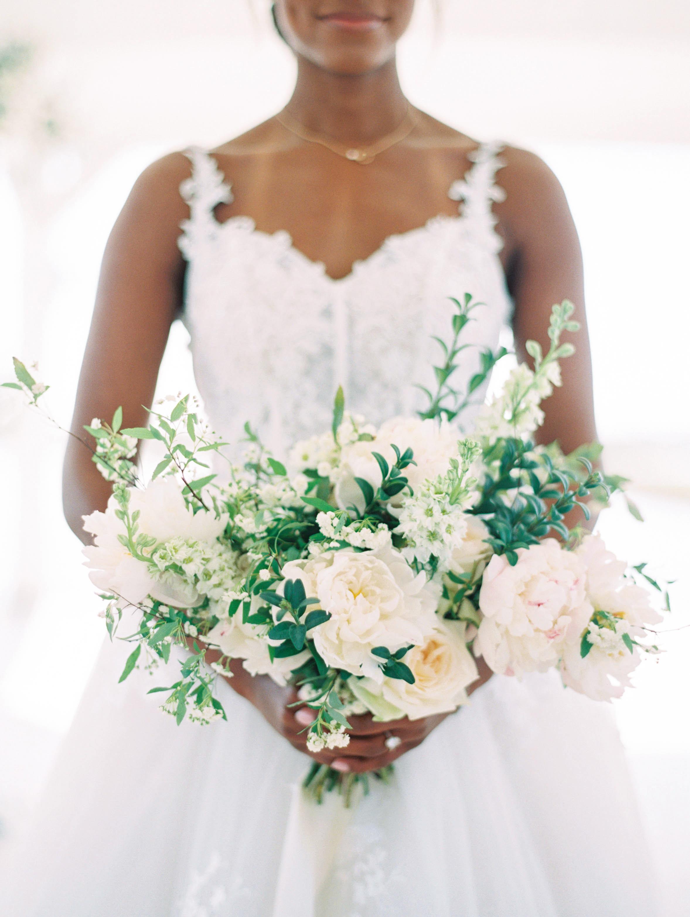 wedding bouquet ivory and blush pink garden style