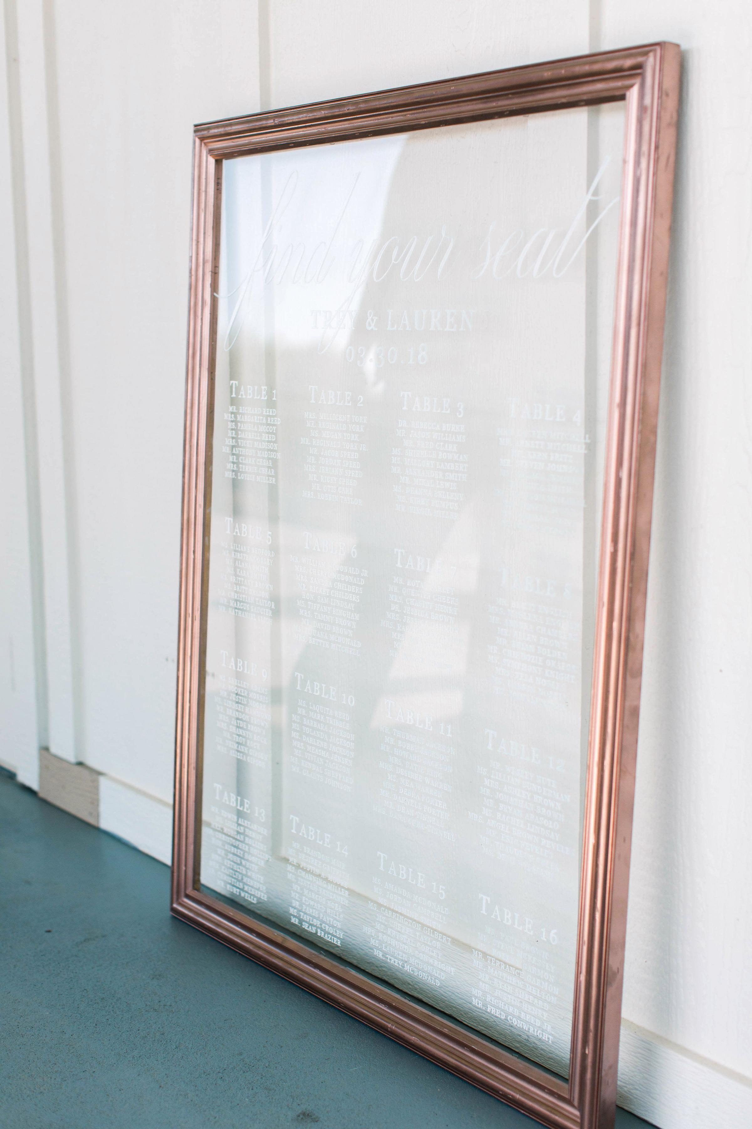 wedding large glass seating chart wood frame