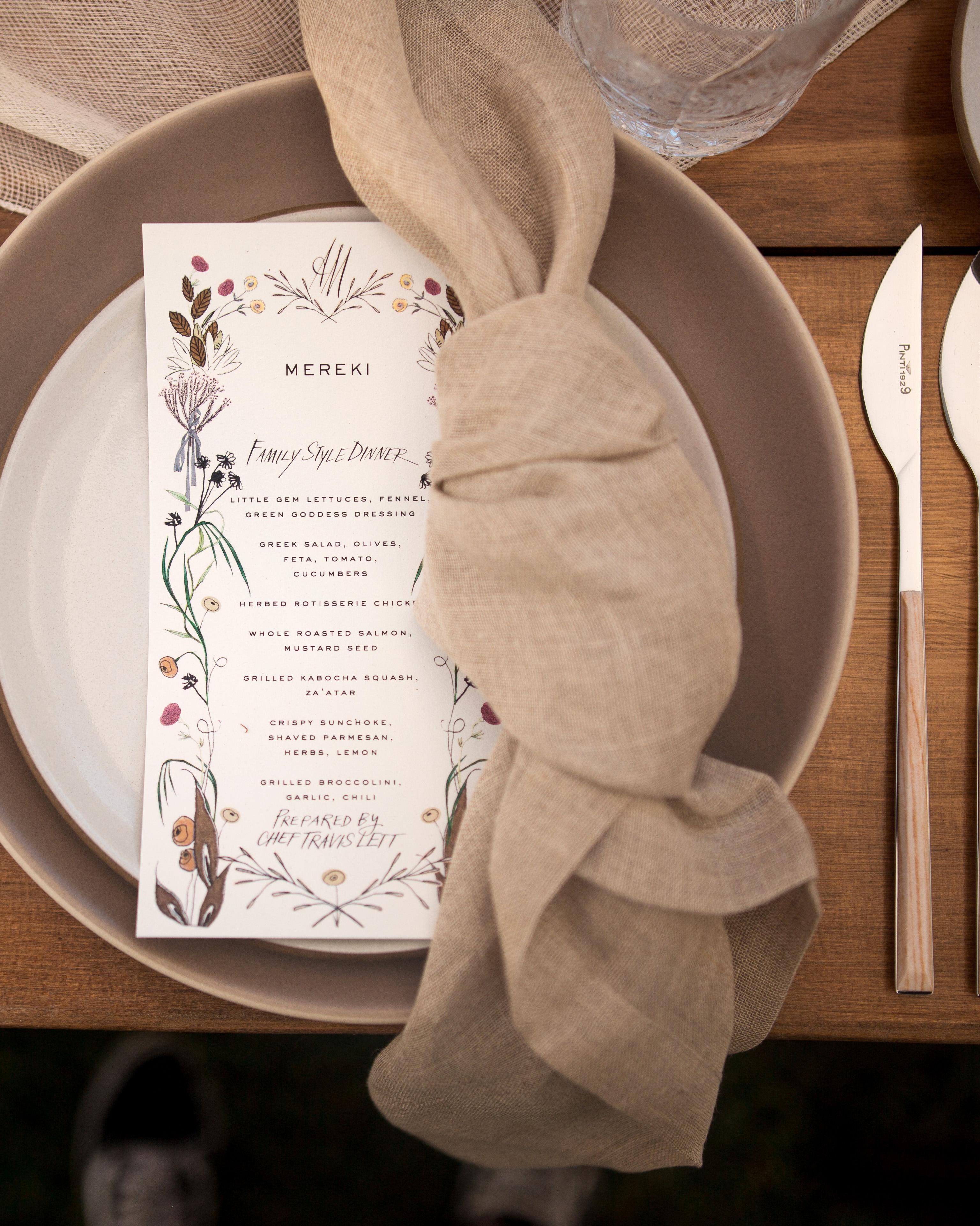 anika max wedding place setting with menu and napkin