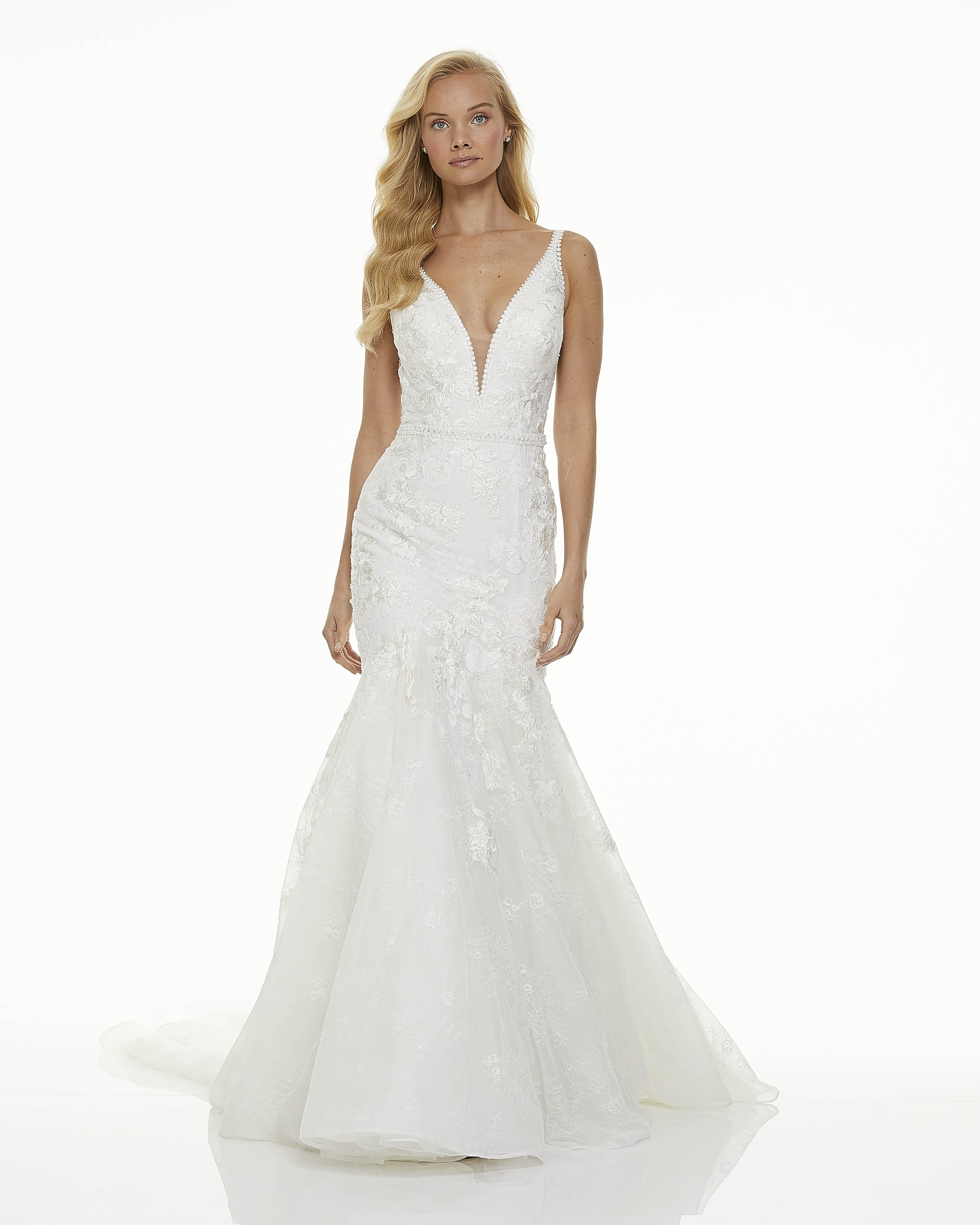 mark zunino fall 2019 trumpet plunging v neck thin strap shimmering lace overlay