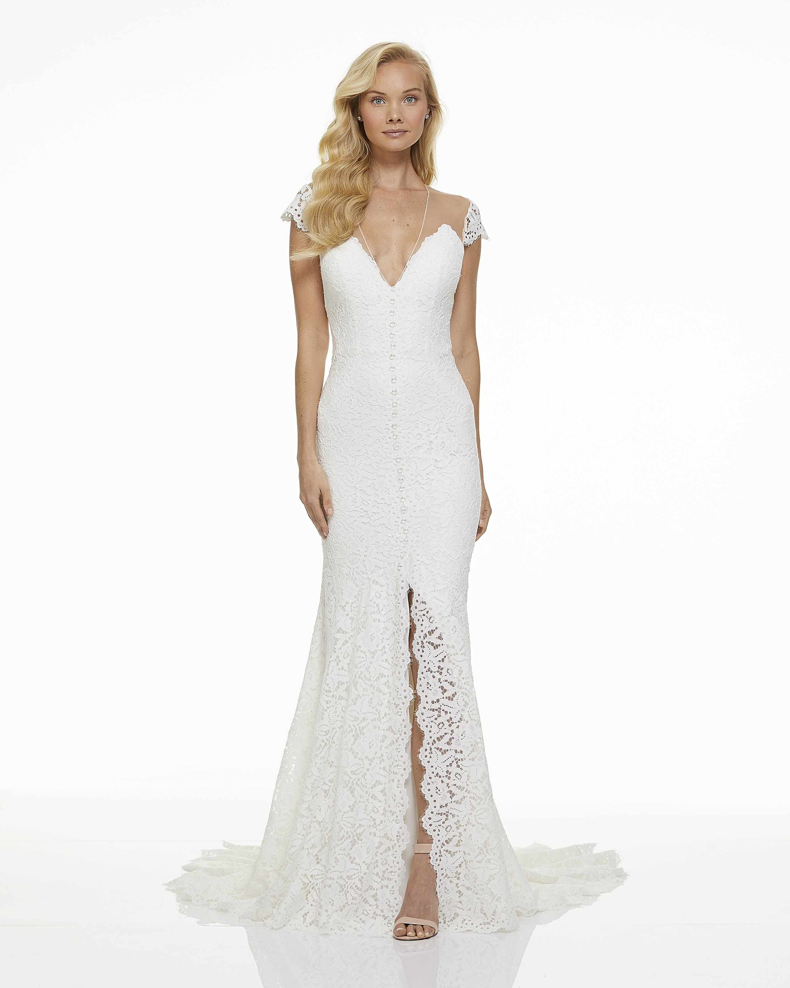mark zunino fall 2019 trumpet high slit v neck illusion cap sleeves lace overlay