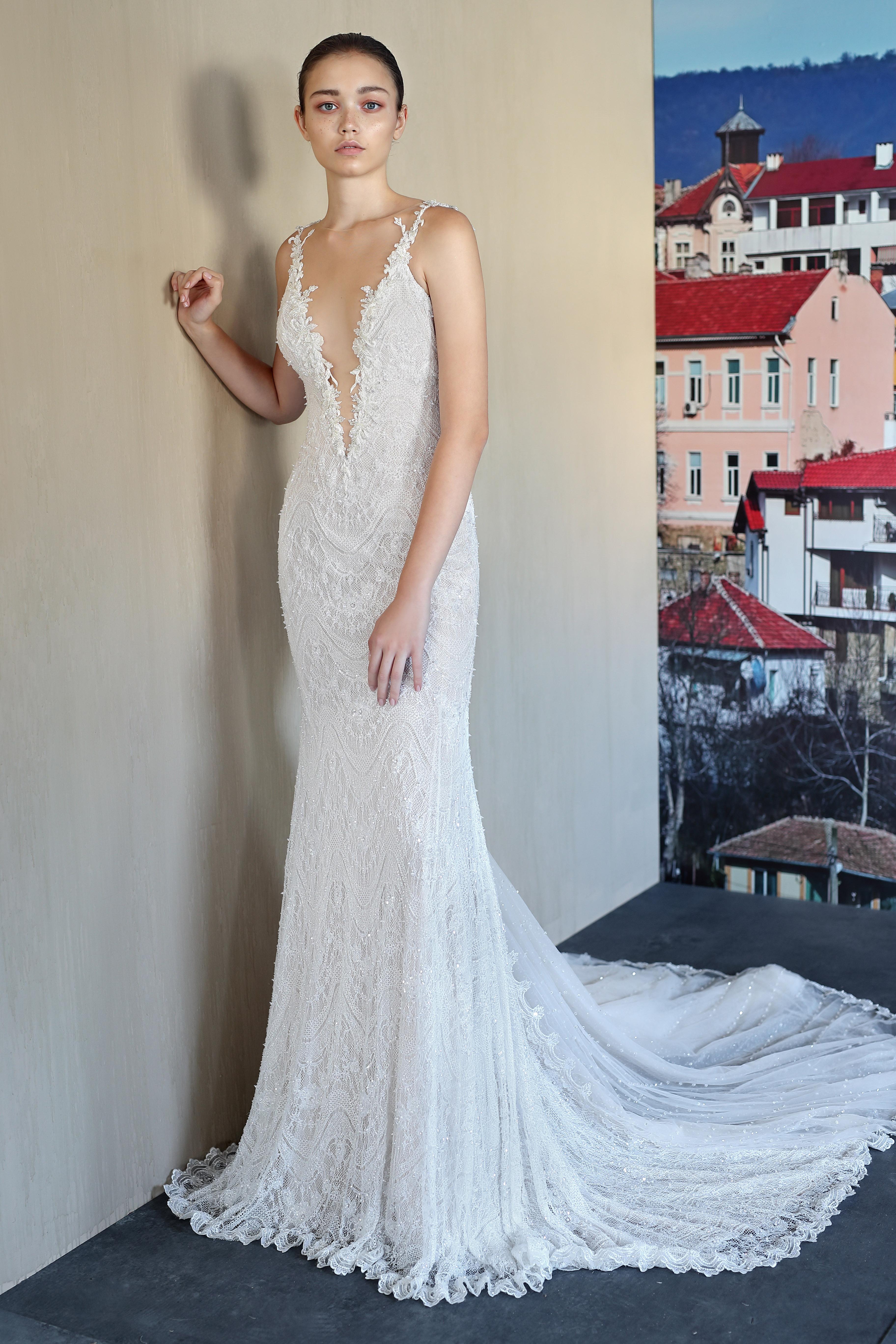 galia lahav plunging v-neck wedding dress fall 201