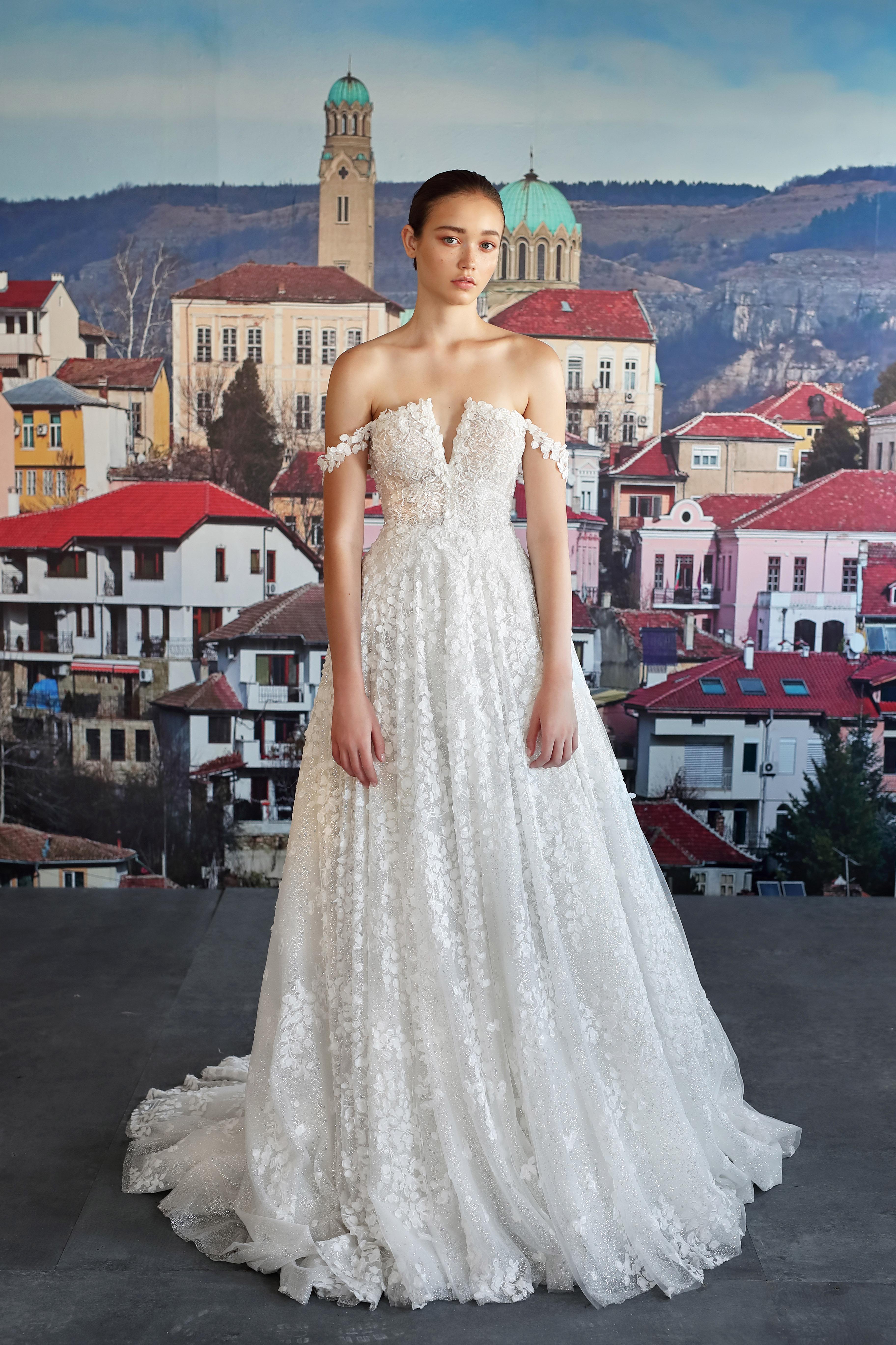 galia lahav off the shoulder low v-neck wedding dress fall 2019