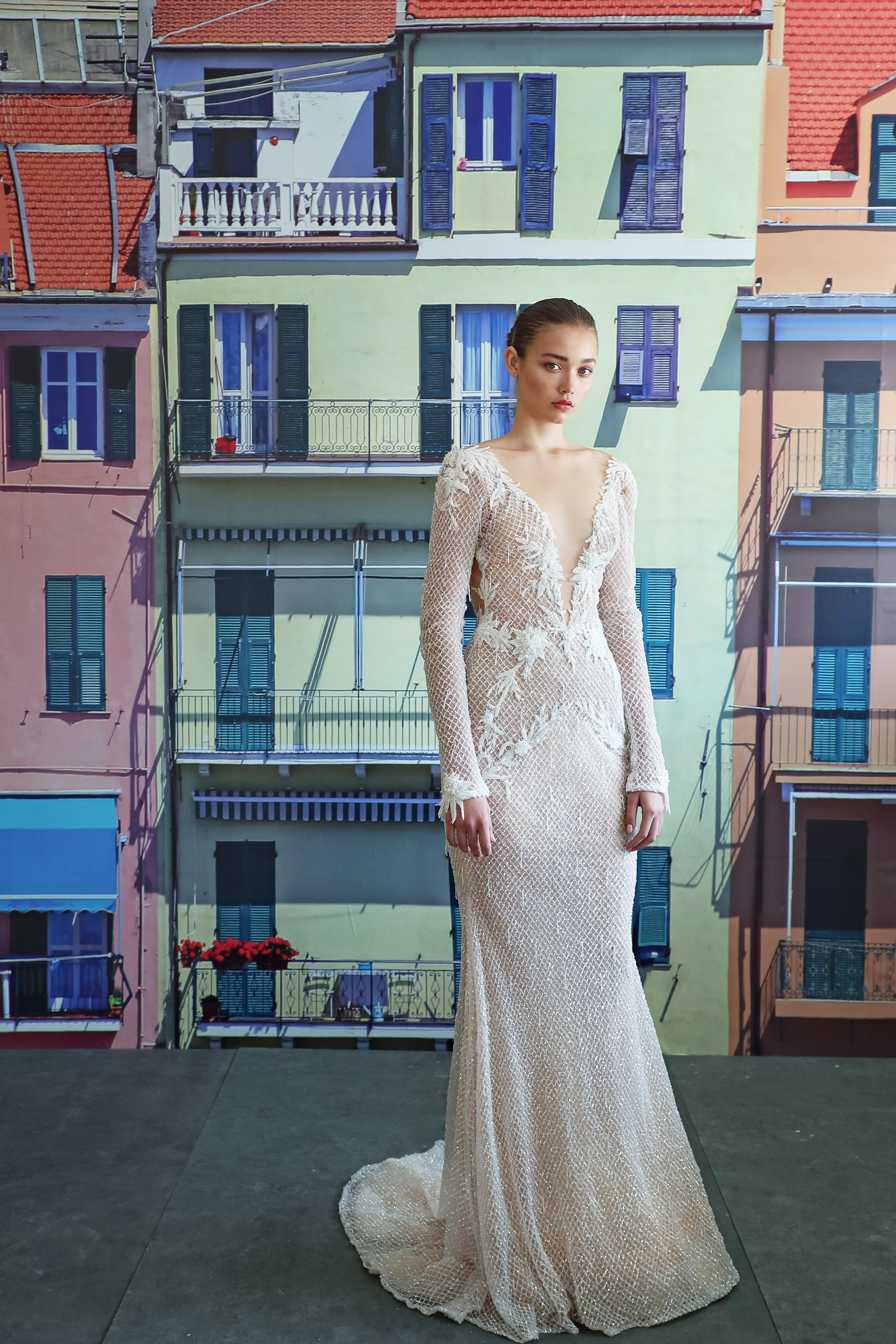 galia lahav long sleeves v-neck wedding dress fall 2019