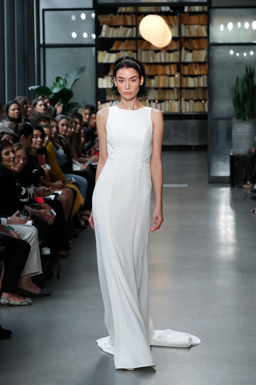 nouvelle amsale wedding dress sleeveless high neck sheath