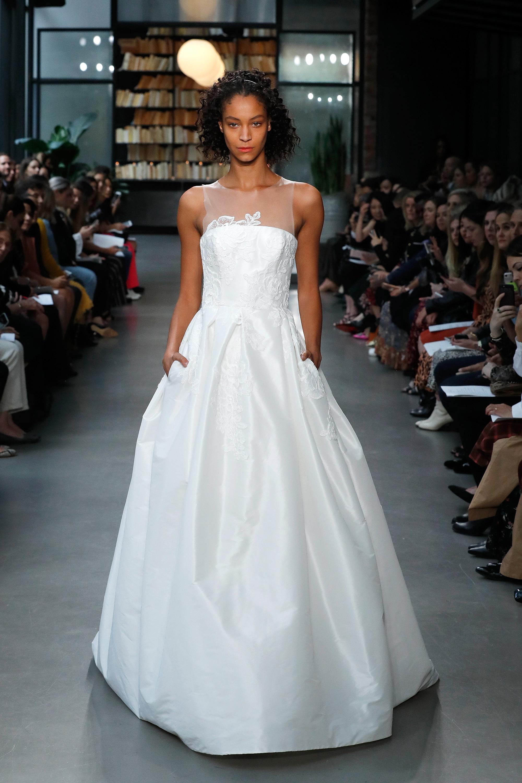 nouvelle amsale wedding dress illusion flower applique a-line