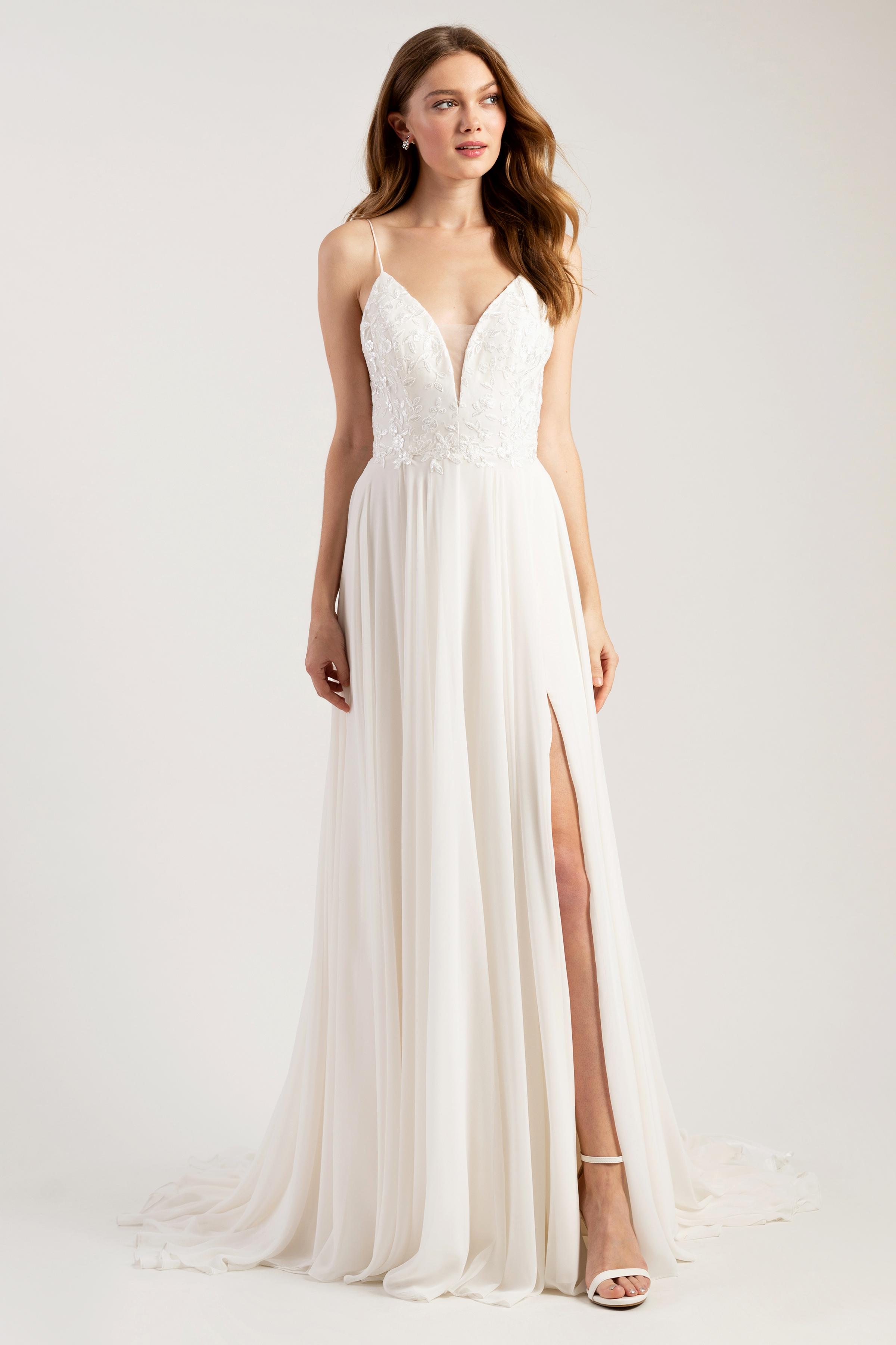 jenny by jenny yoo wedding dress spaghetti strap slit v-neck