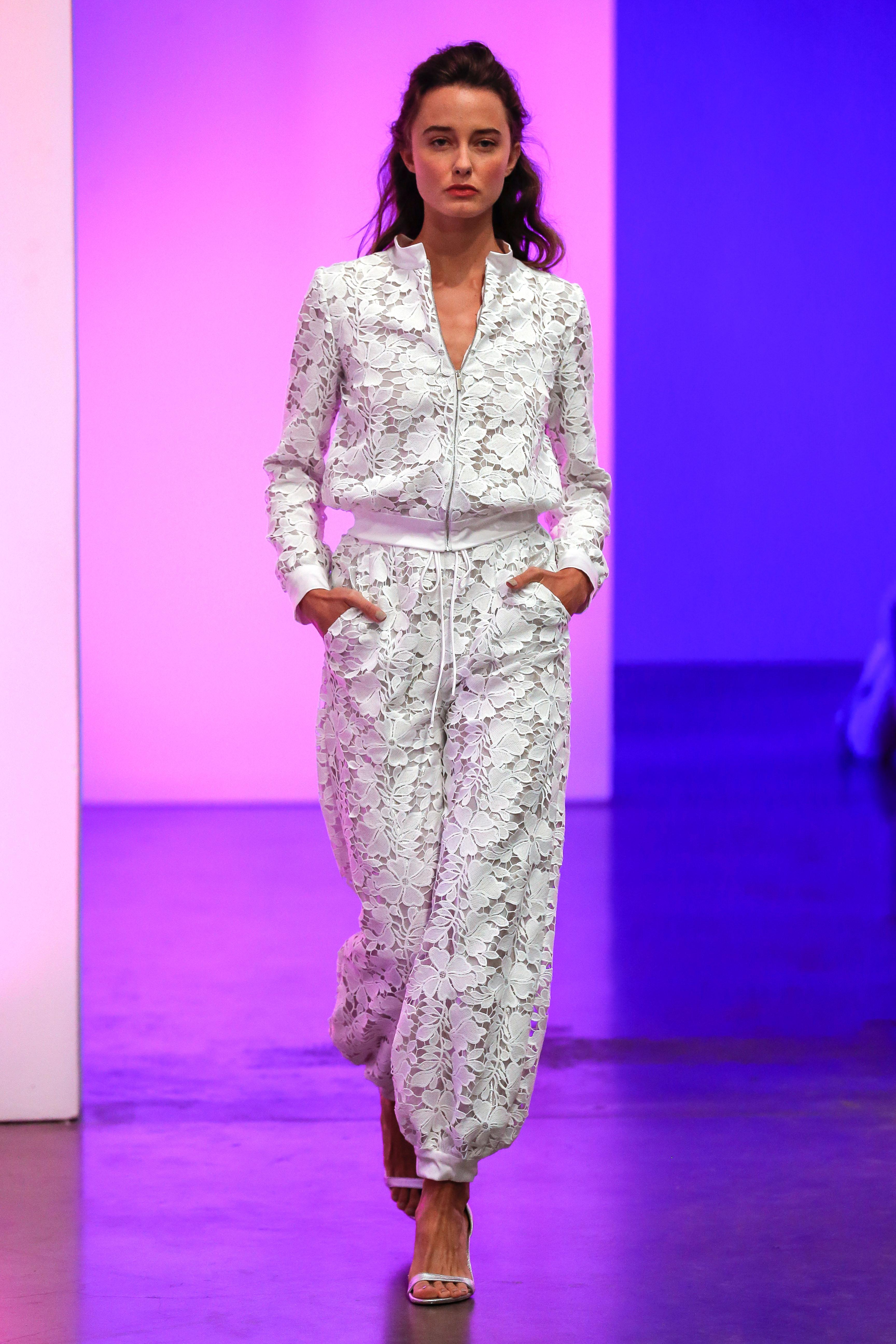 gracy accad fall 2019 v-neck floral applique pants jacket wedding dress