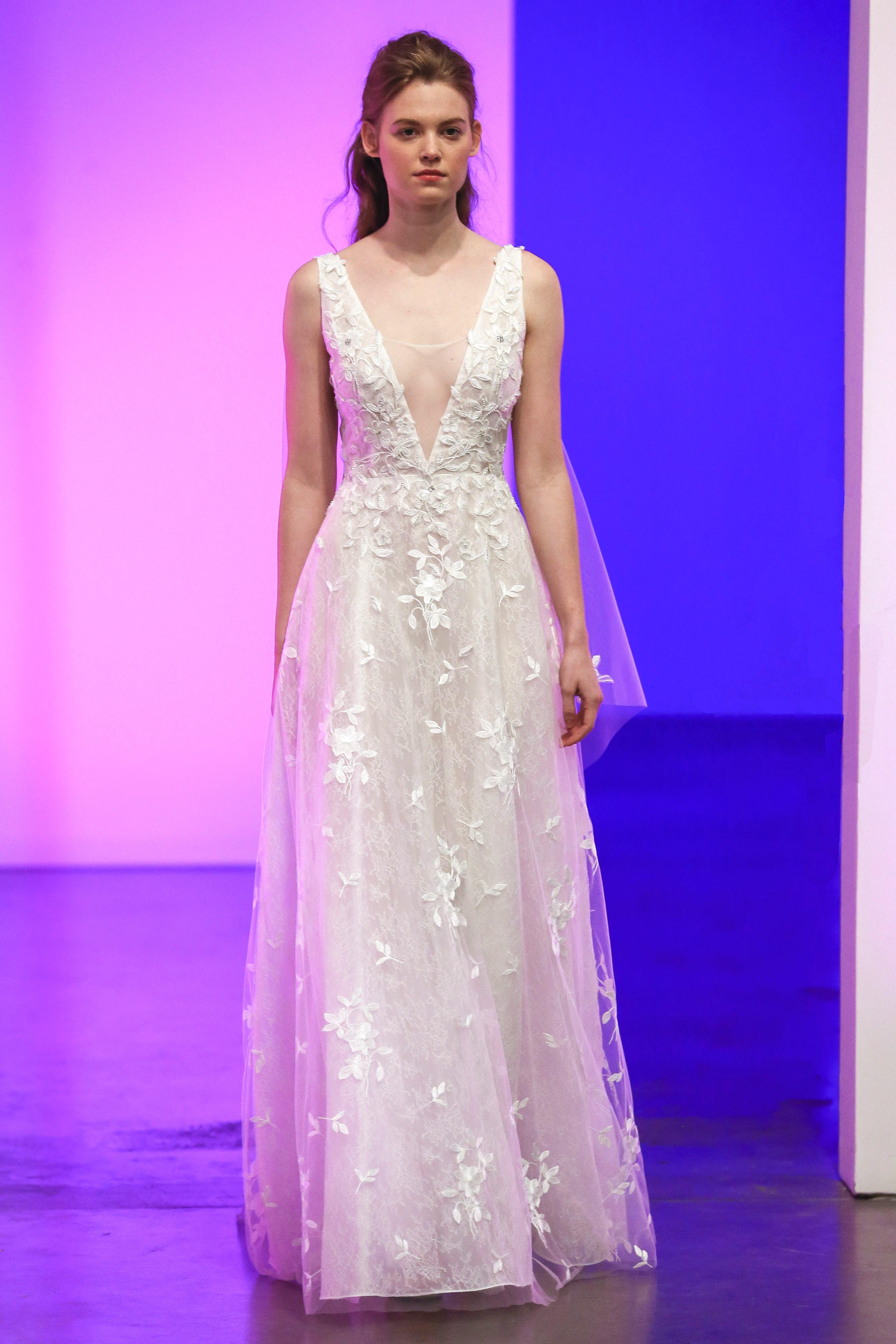 gracy accad fall 2019 v-neck floral applique short sleeve wedding dress