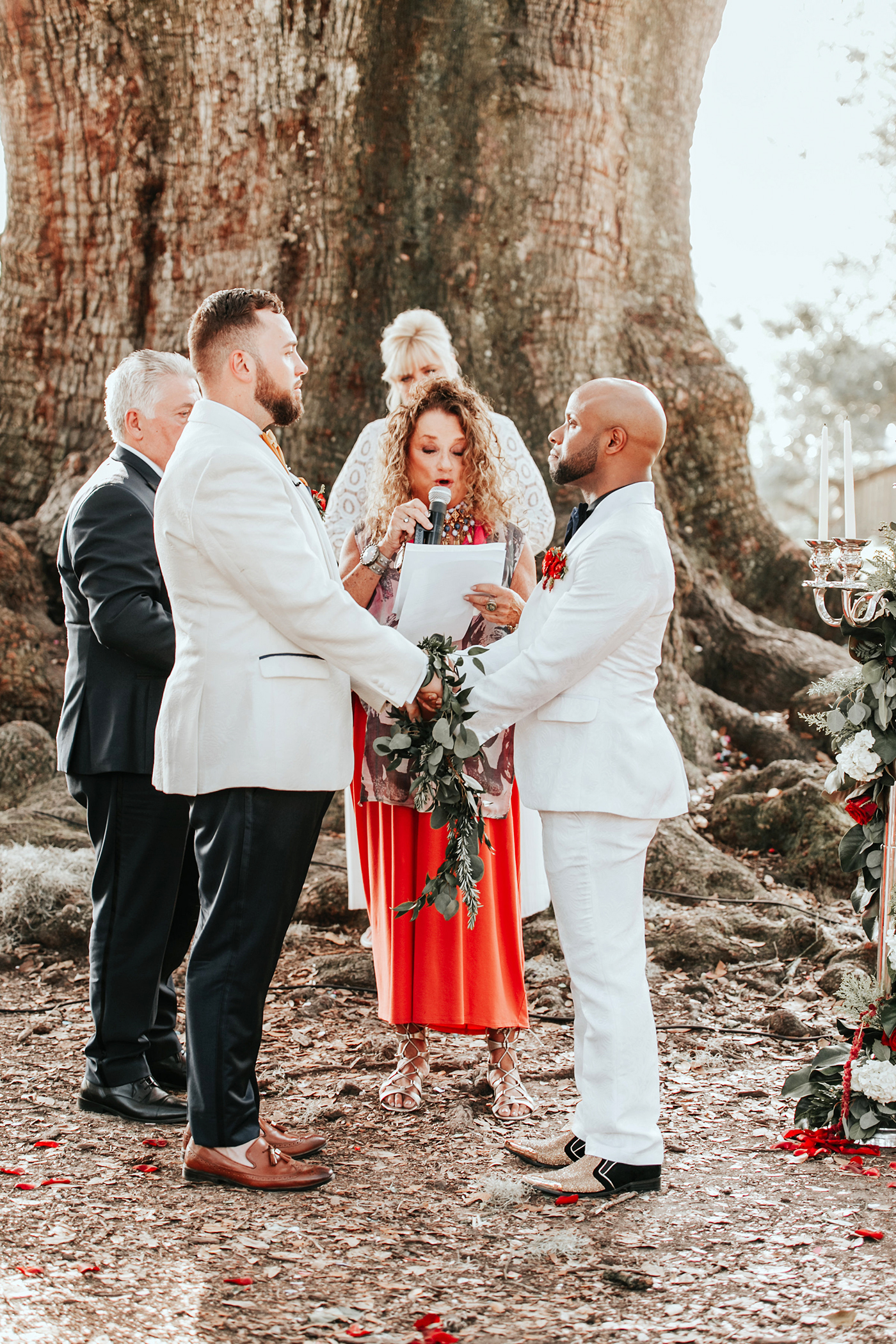 joe tim new orleans wedding ceremony by tree