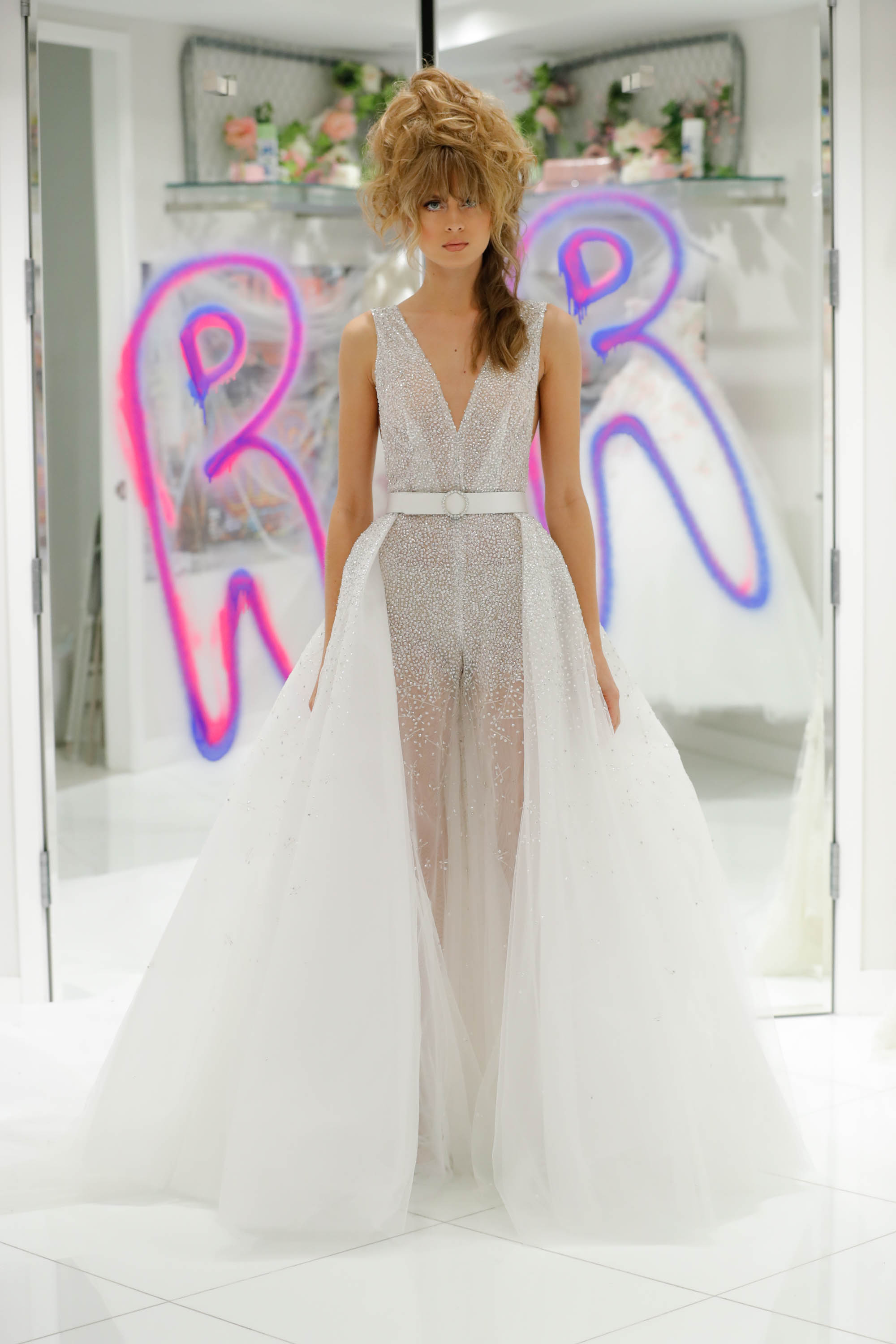 randi rahm fall 2019 sheer pantsuit with tulle skirt