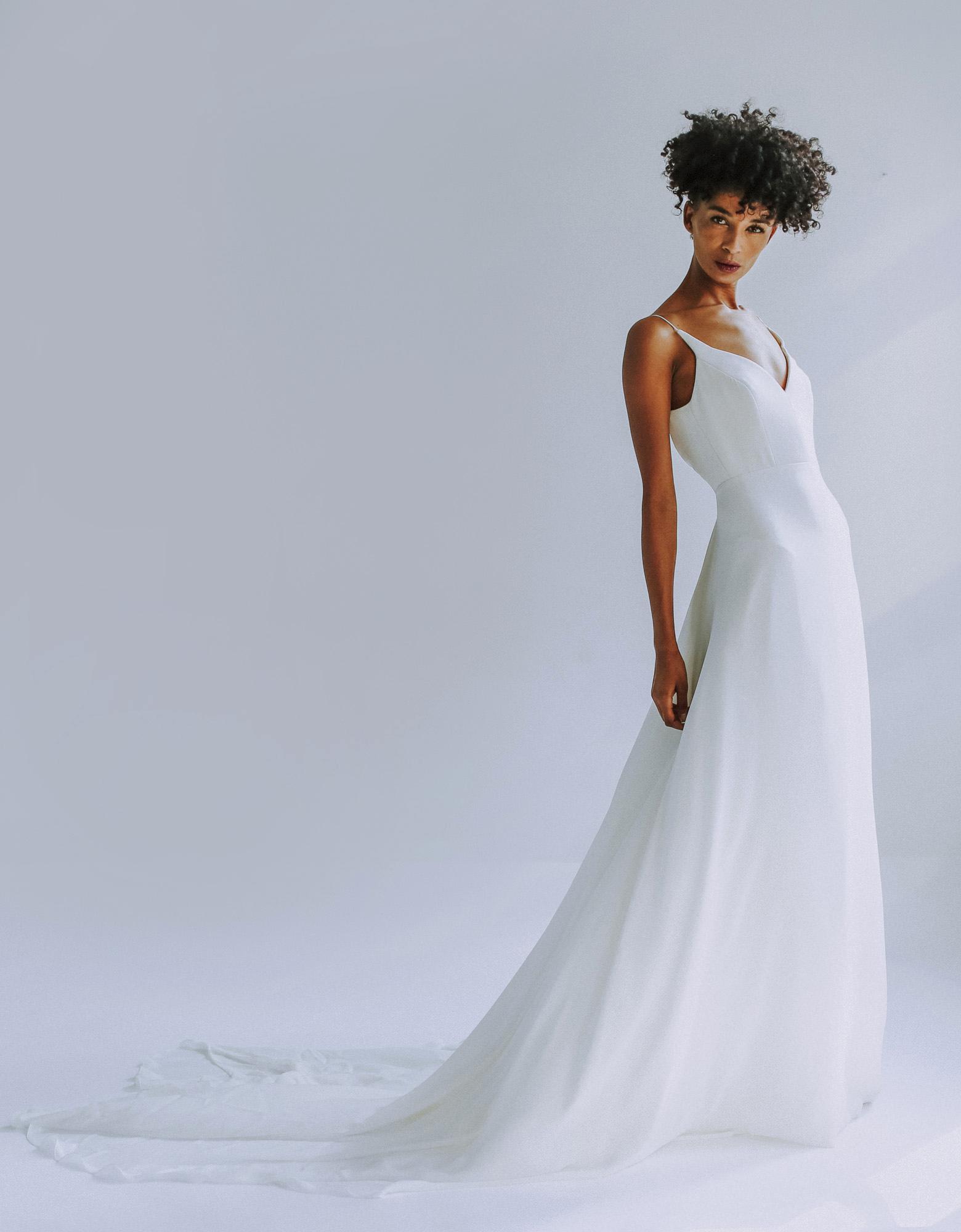 Leanne Marshall satin v-neck wedding dress fall 2019