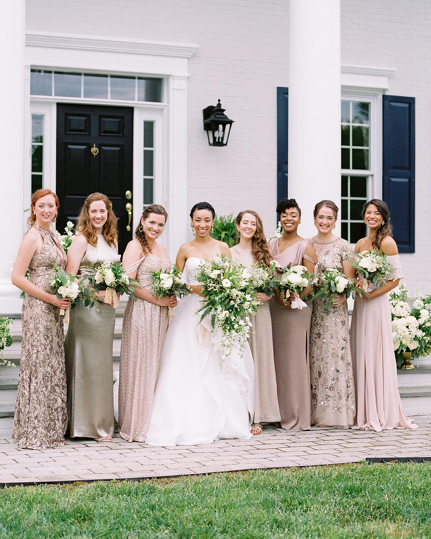 pillar paul wedding bridesmaids neutral dresses