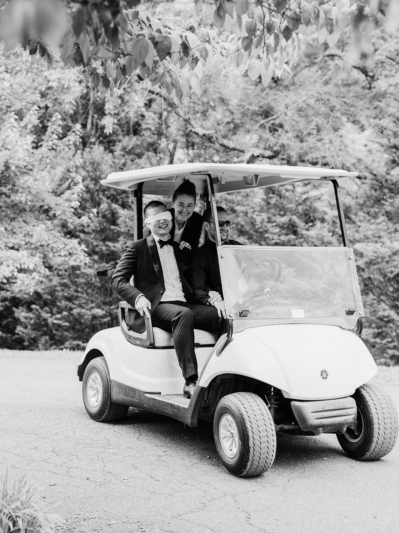 pillar paul wedding blinded groom in golf cart on way to first look