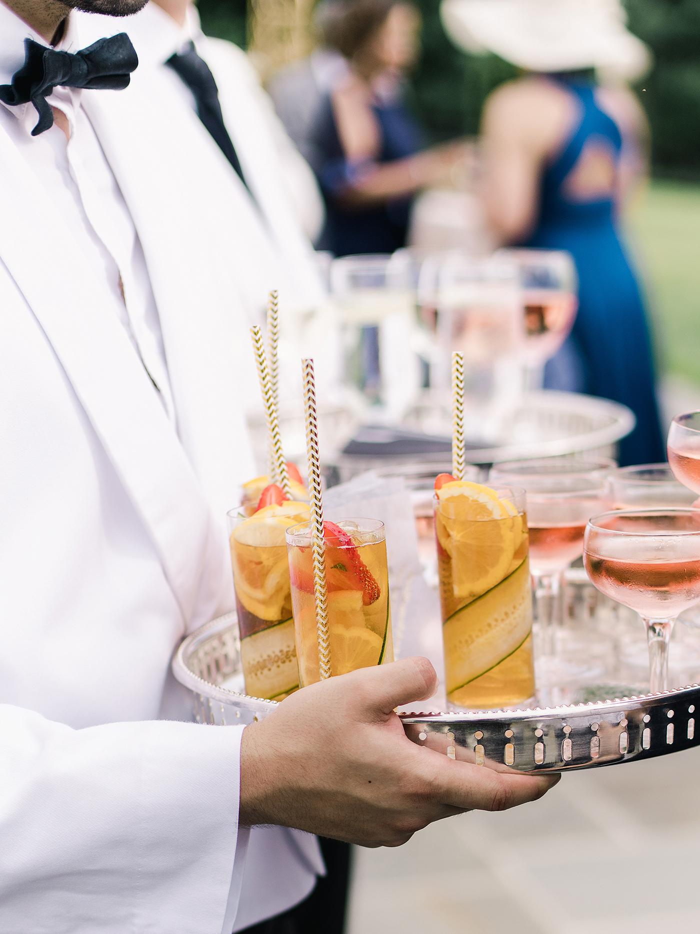 pillar paul wedding cocktails on tray