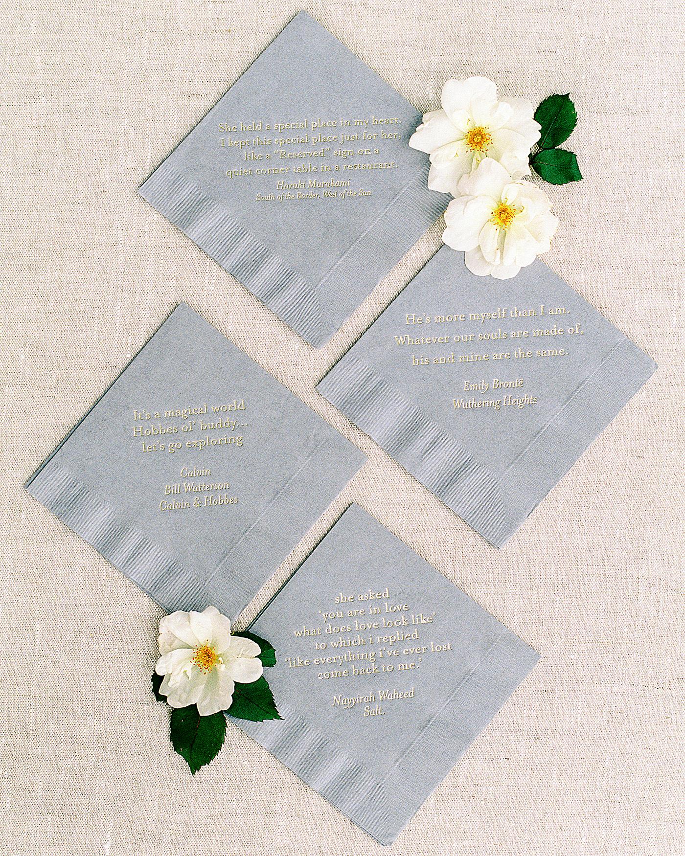 pillar paul wedding napkins with love quotes