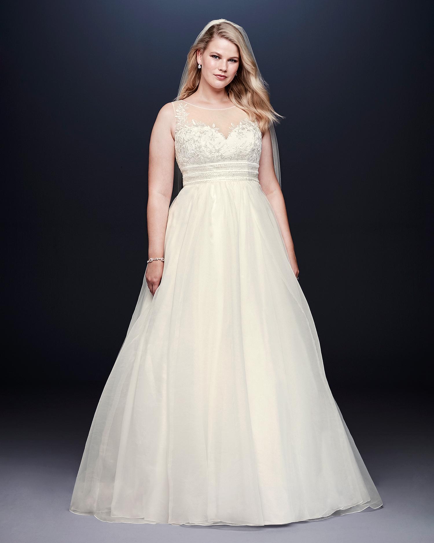 davids bridal wedding dress fall 2019 high illusion neck a-line