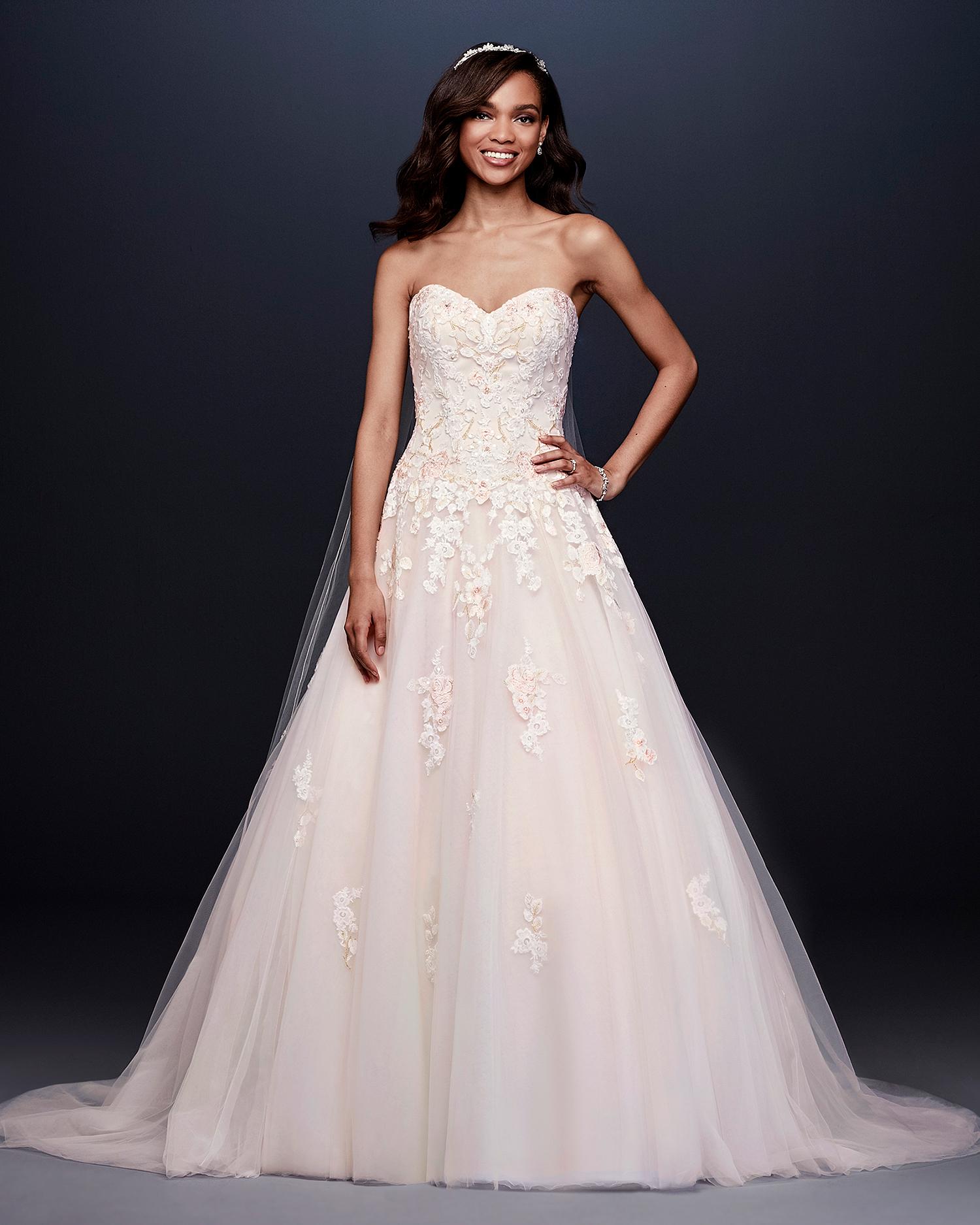 davids bridal wedding dress fall 2019 blush sweetheart with appliques