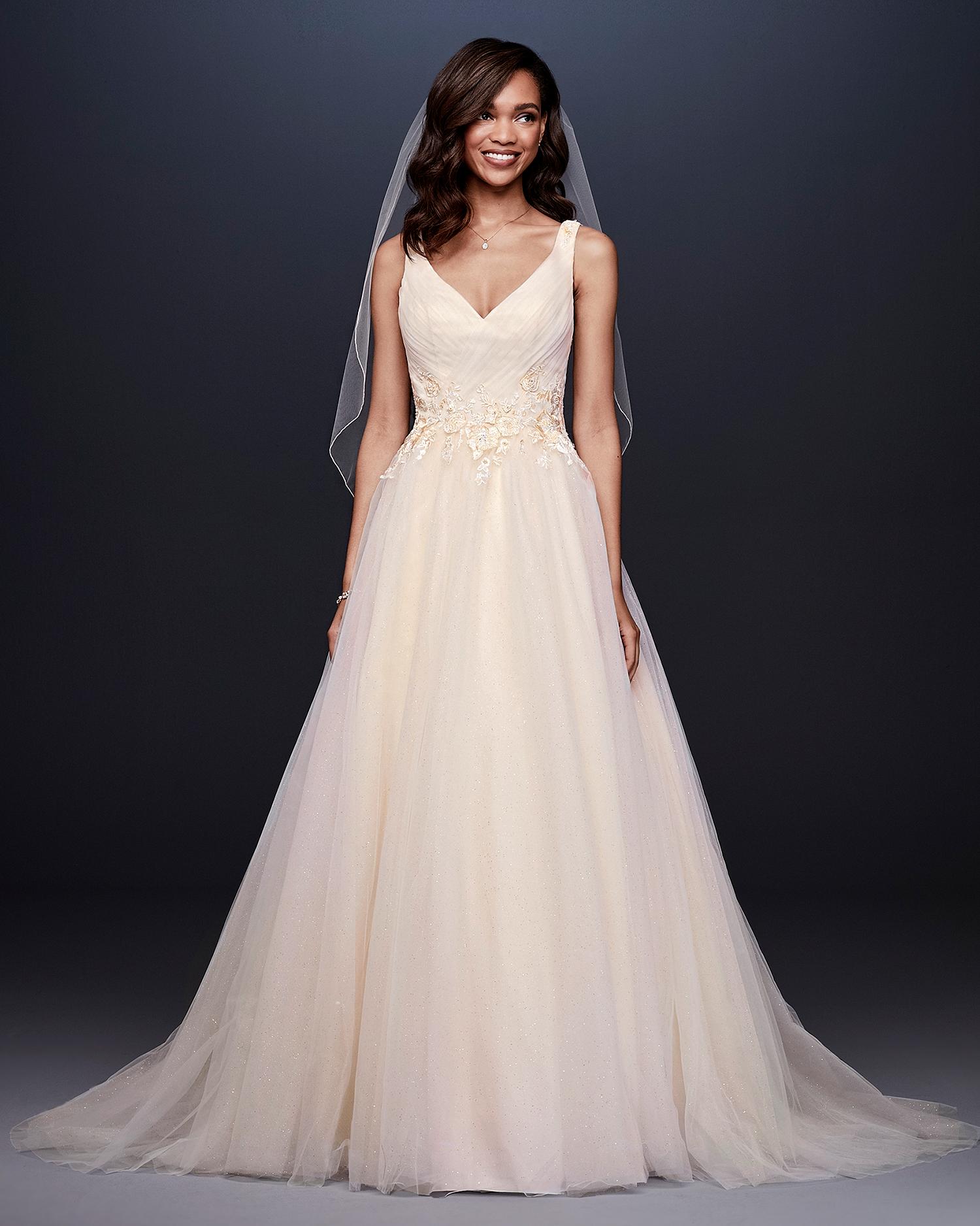 davids bridal wedding dress fall 2019 v-neck with floral appliques at waist