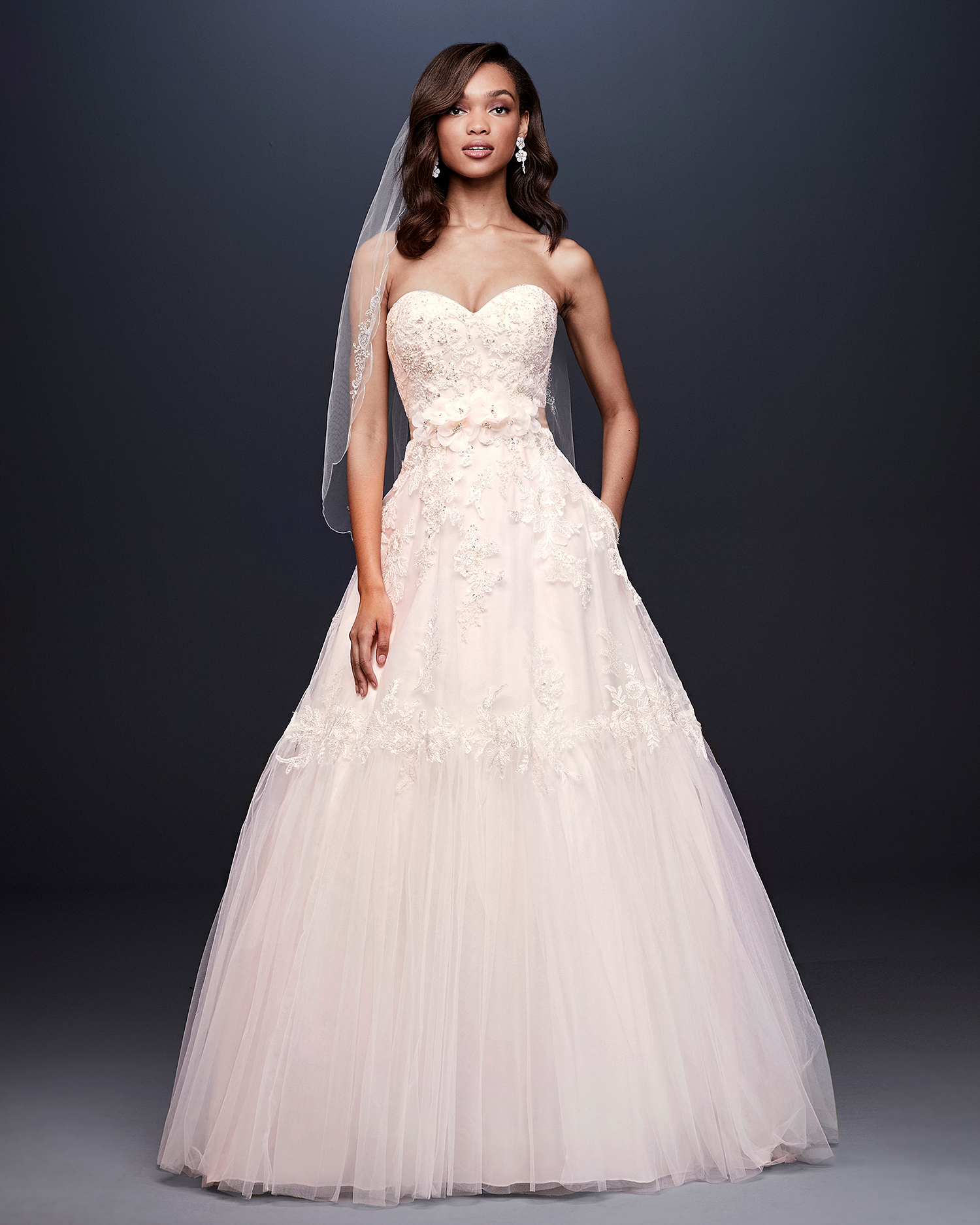 davids bridal wedding dress fall 2019 strapless sweetheart with floral appliques