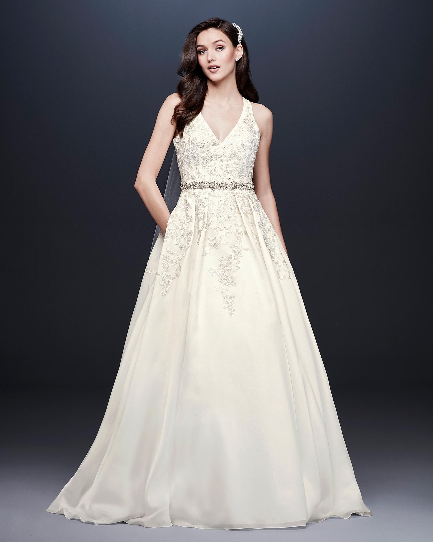 davids bridal wedding dress fall 2019 v-neck a-line with crystal belt