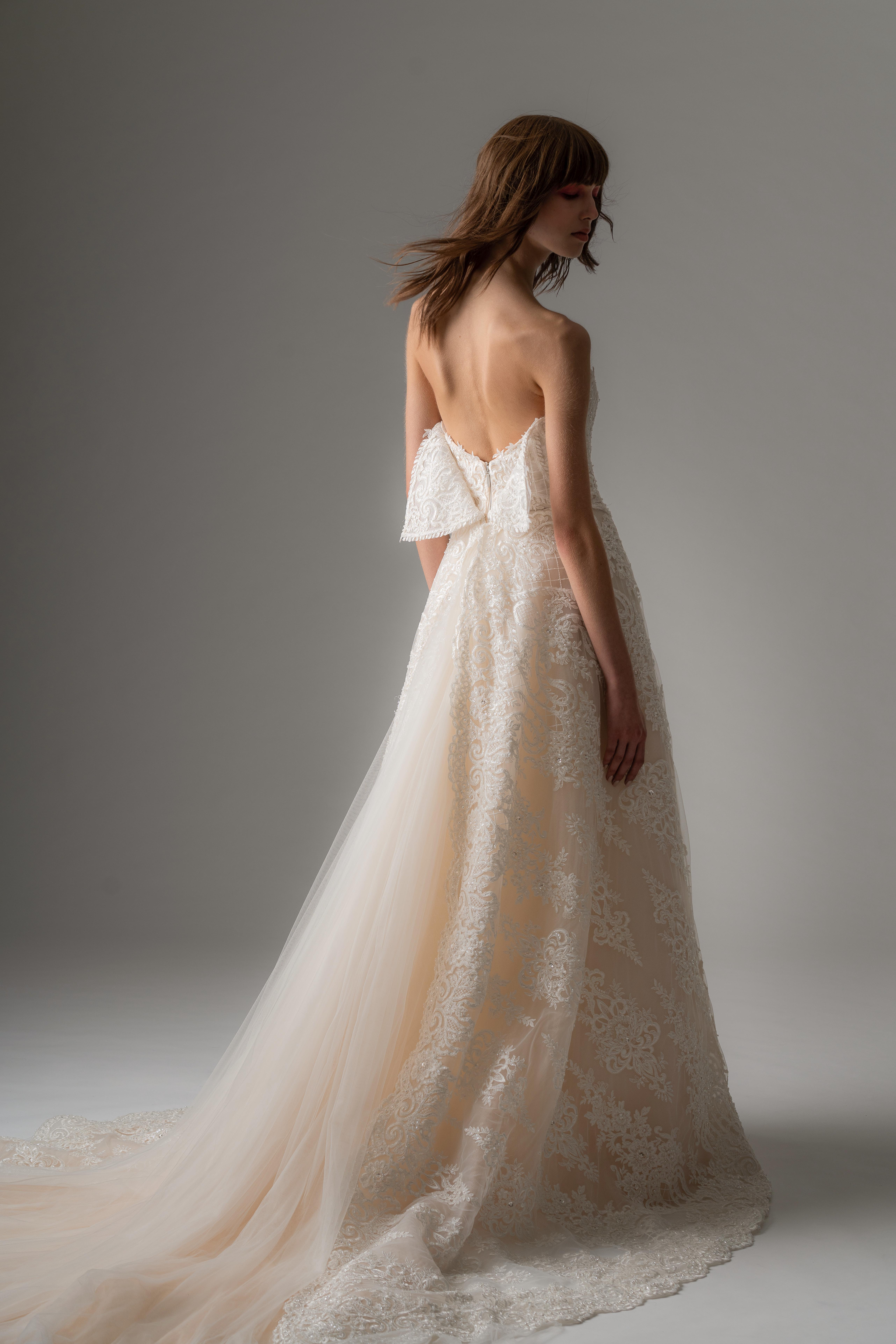 rivini by rita fall 2019 floral applique a-line strapless wedding dress