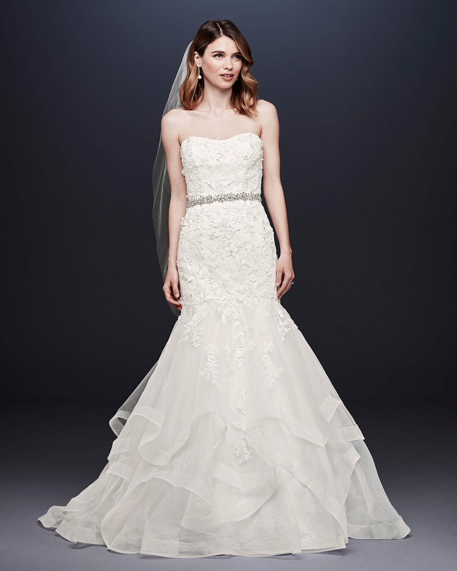 davids bridal wedding dress fall 2019 embroidered trumpet with tiered skirt