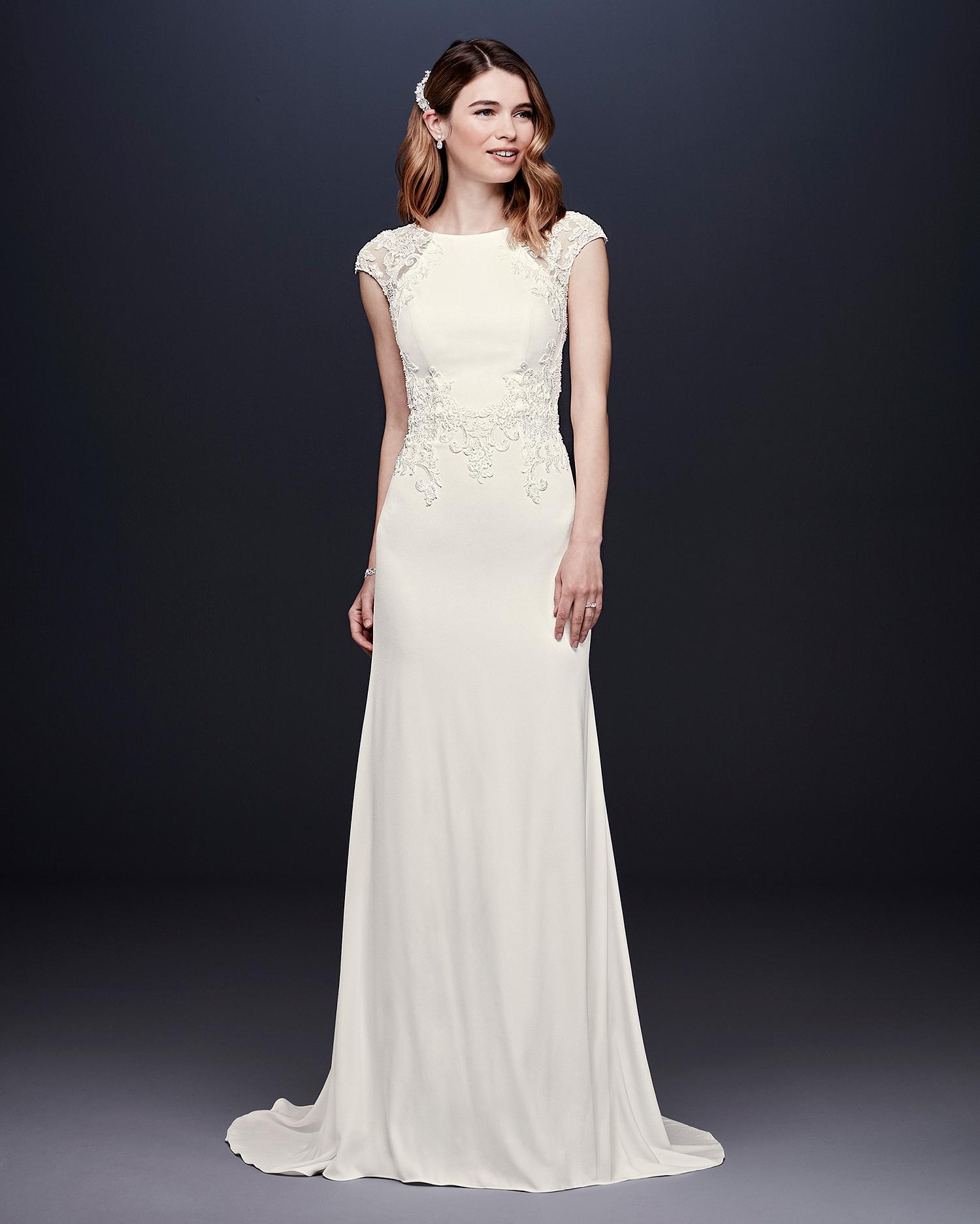 davids bridal wedding dress fall 2019 embroidered cap-sleeved sheath