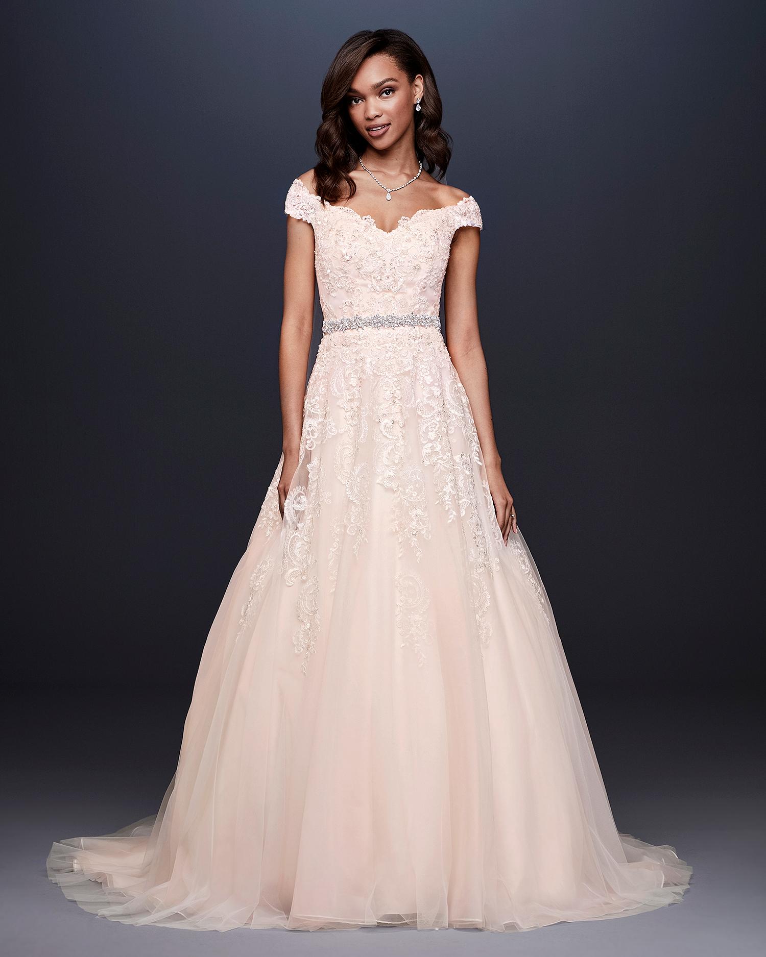 davids bridal wedding dress fall 2019 blush a-line with cap sleeves