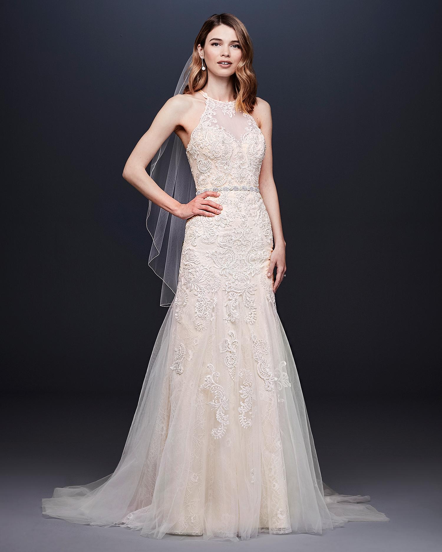 davids bridal wedding dress fall 2019 embroidered overlay high-neck