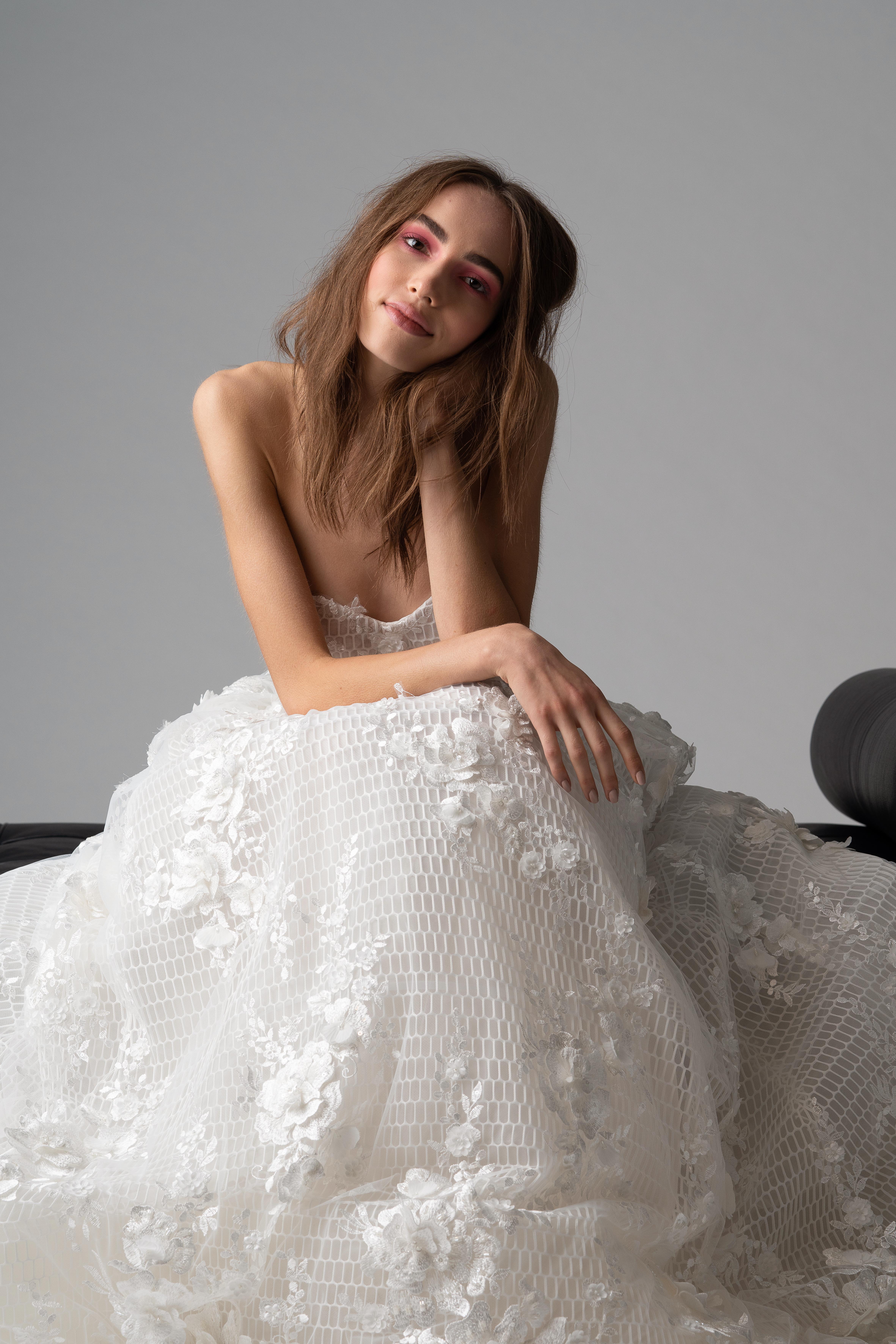 rivini by rita fall 2019 strapless floral applique wedding dress